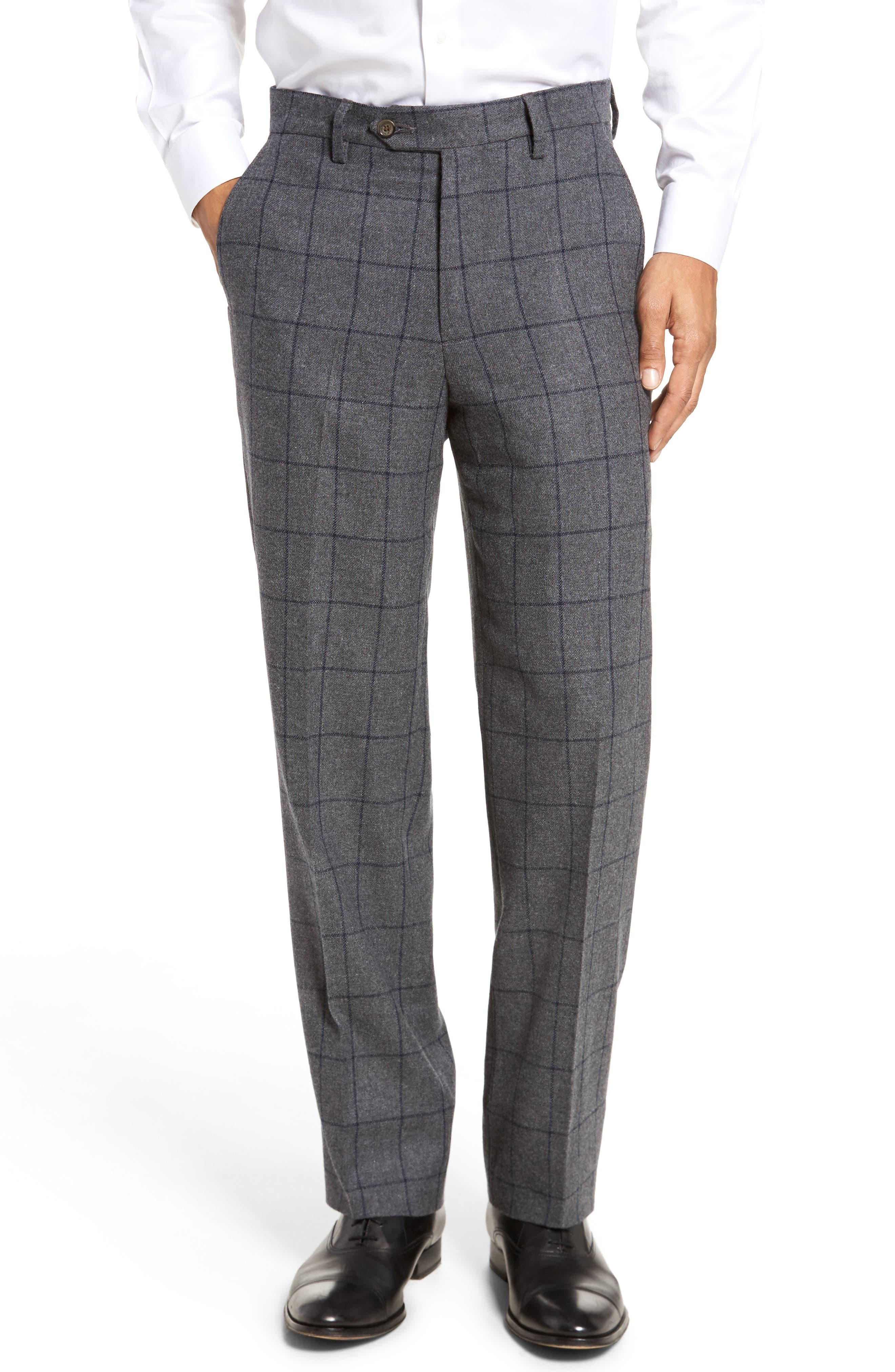 Flat Front Windowpane Wool Blend Trousers,                         Main,                         color, Grey
