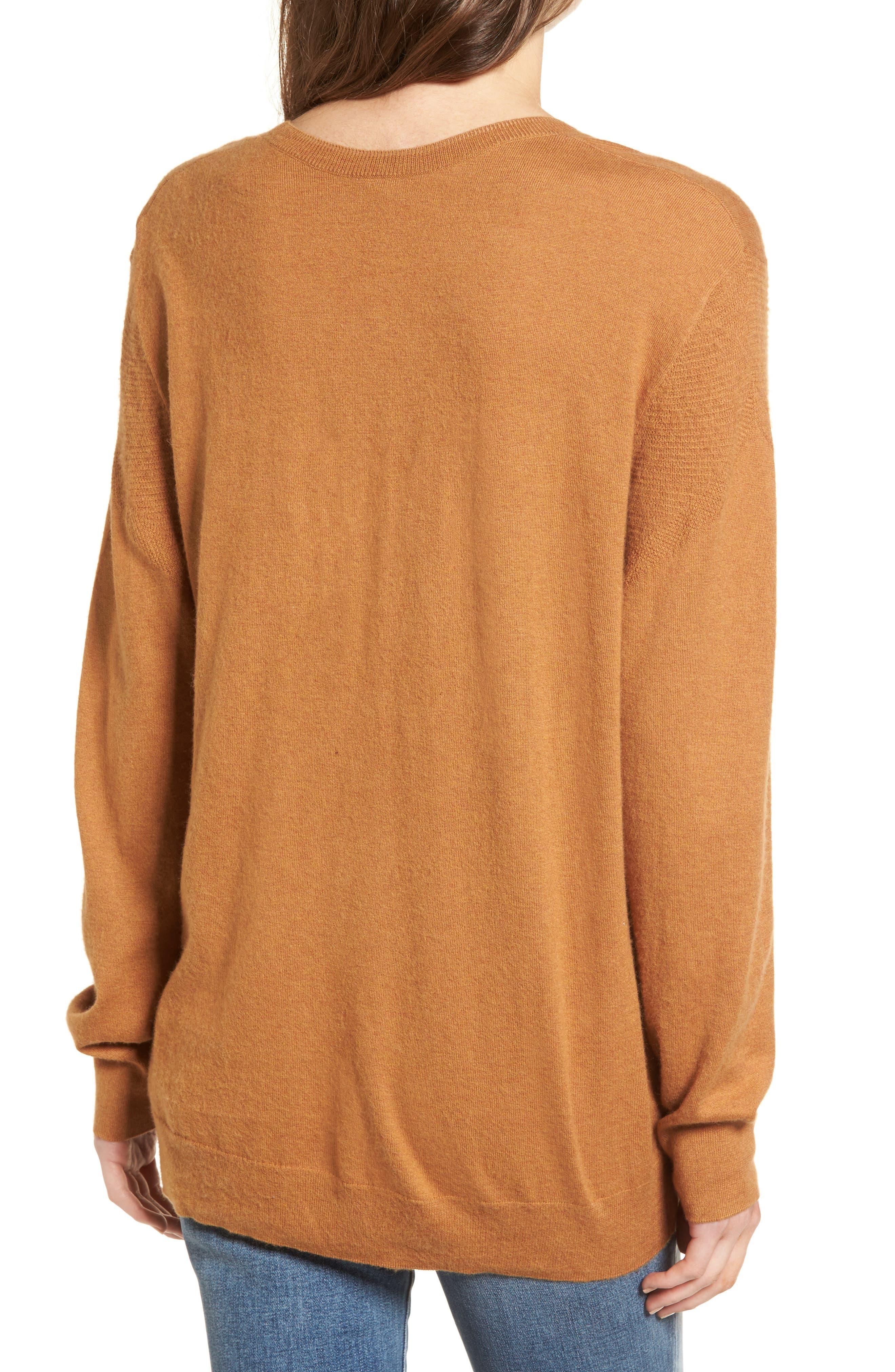 V-Neck Sweater,                             Alternate thumbnail 2, color,                             Tan Sugar Heather
