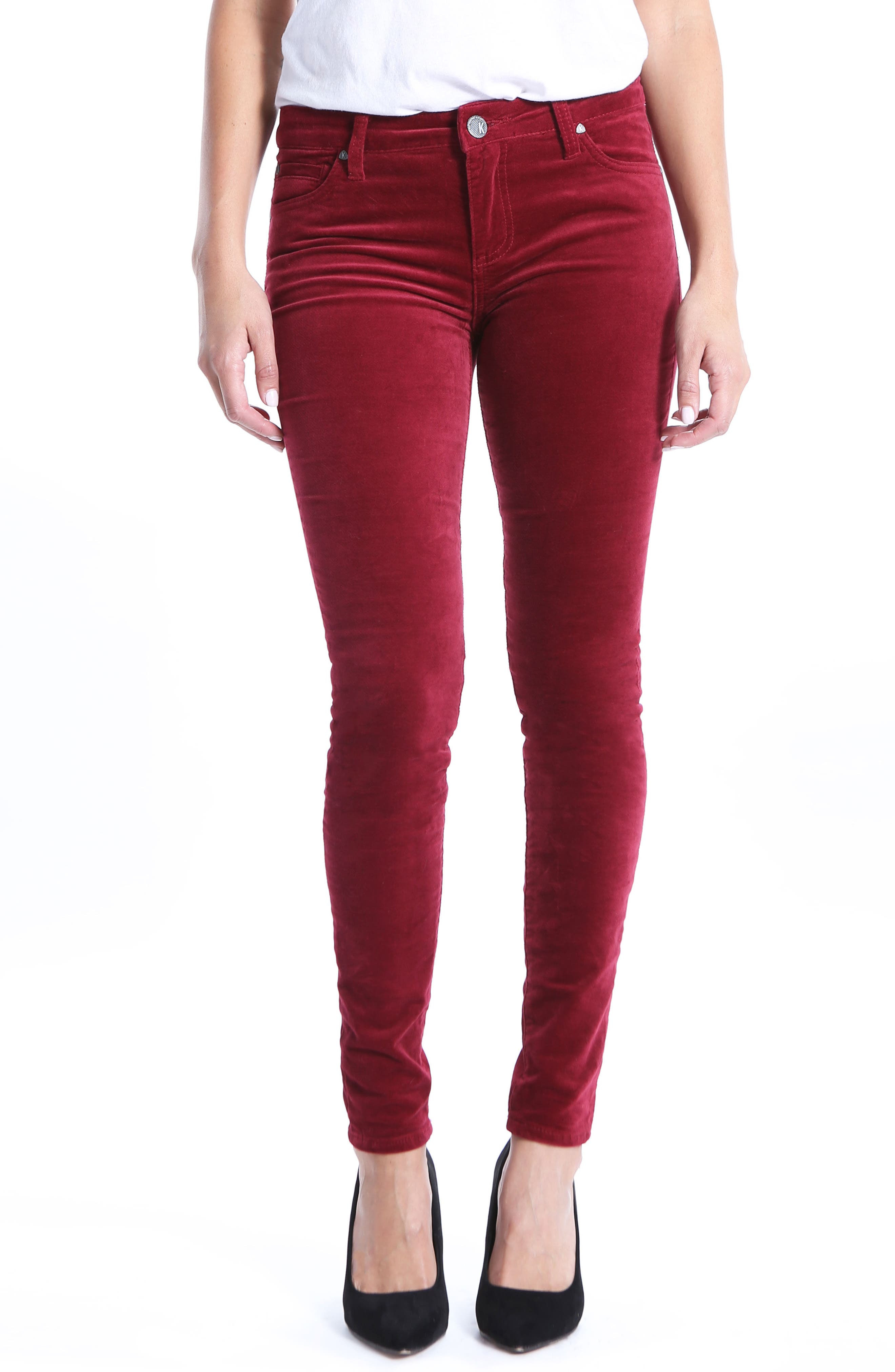 Mia Toothpick Jeans,                         Main,                         color, Red