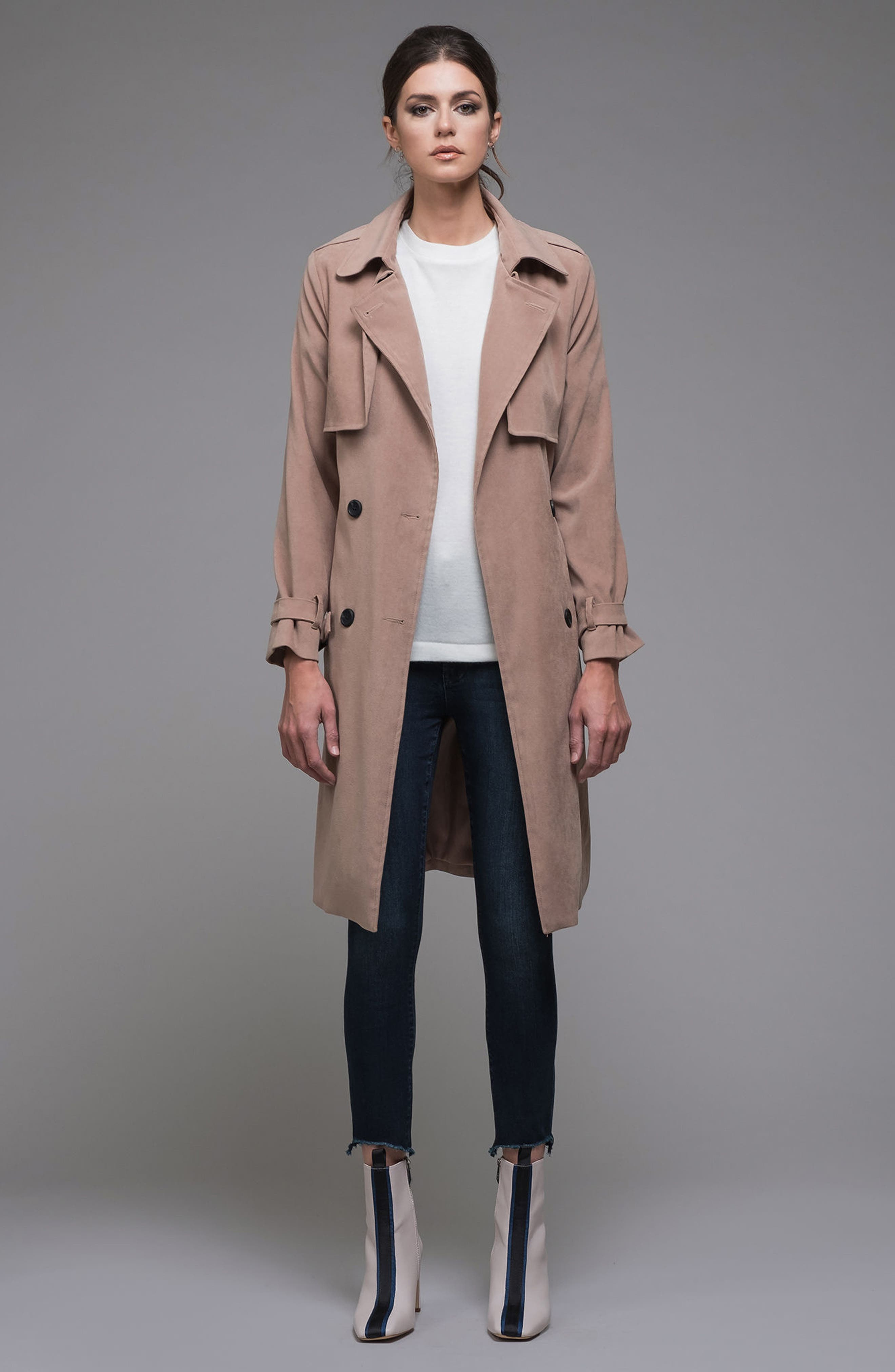 Double-Breasted Trench Coat,                             Alternate thumbnail 7, color,                             Taupe