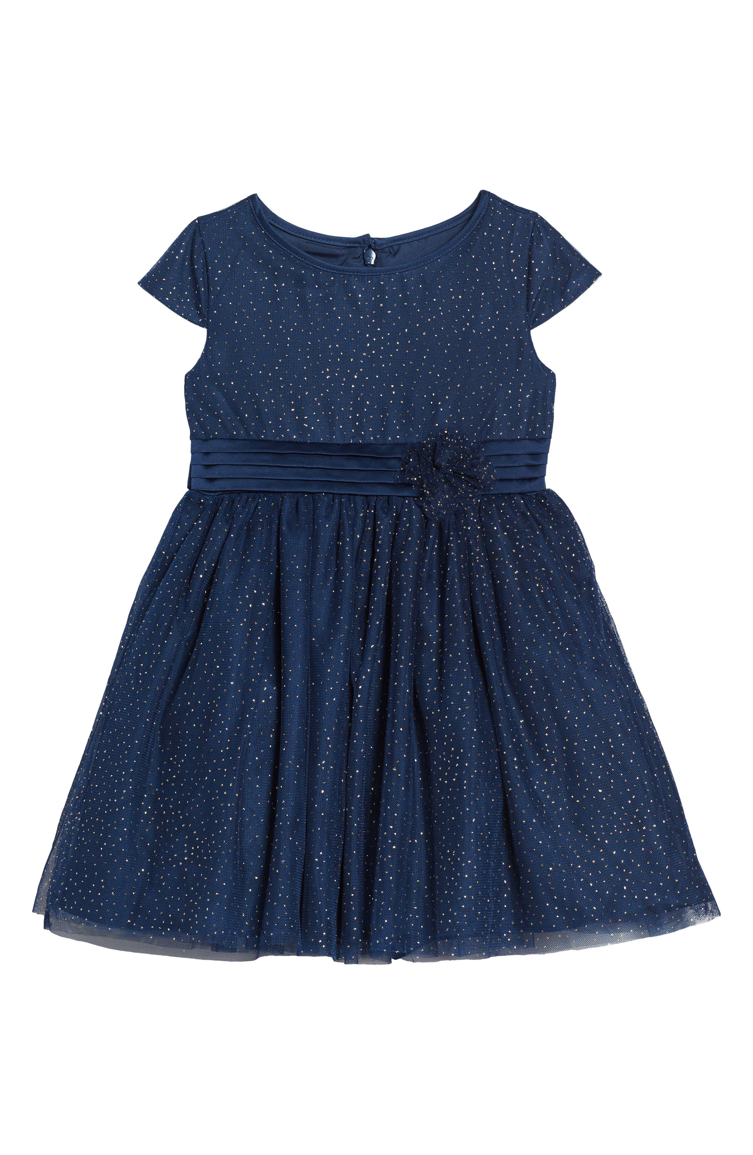 Illusion Mesh Party Dress,                         Main,                         color, Navy