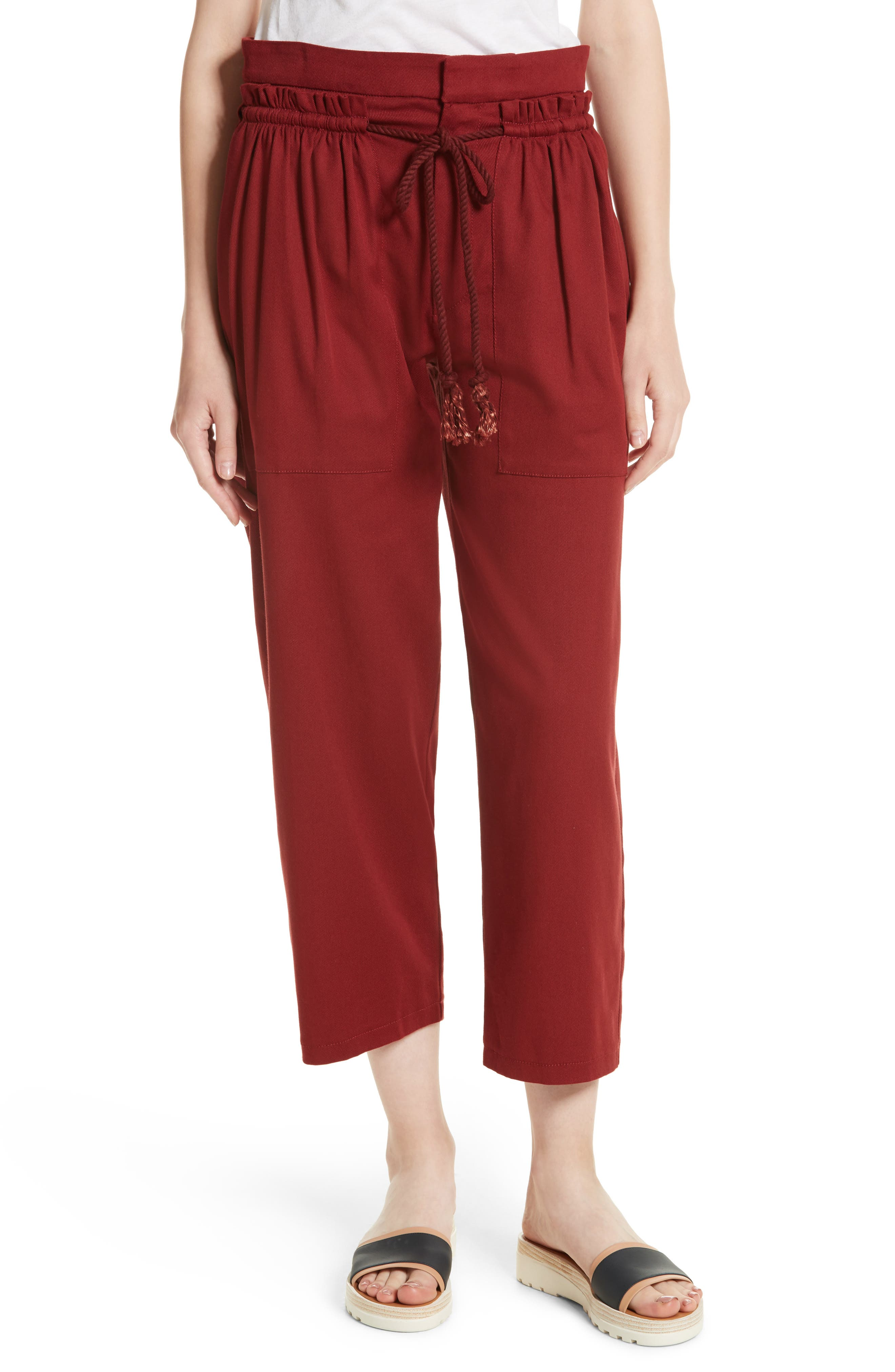 Ruffle Trim Drawstring Trousers,                             Main thumbnail 1, color,                             Crafty Brown