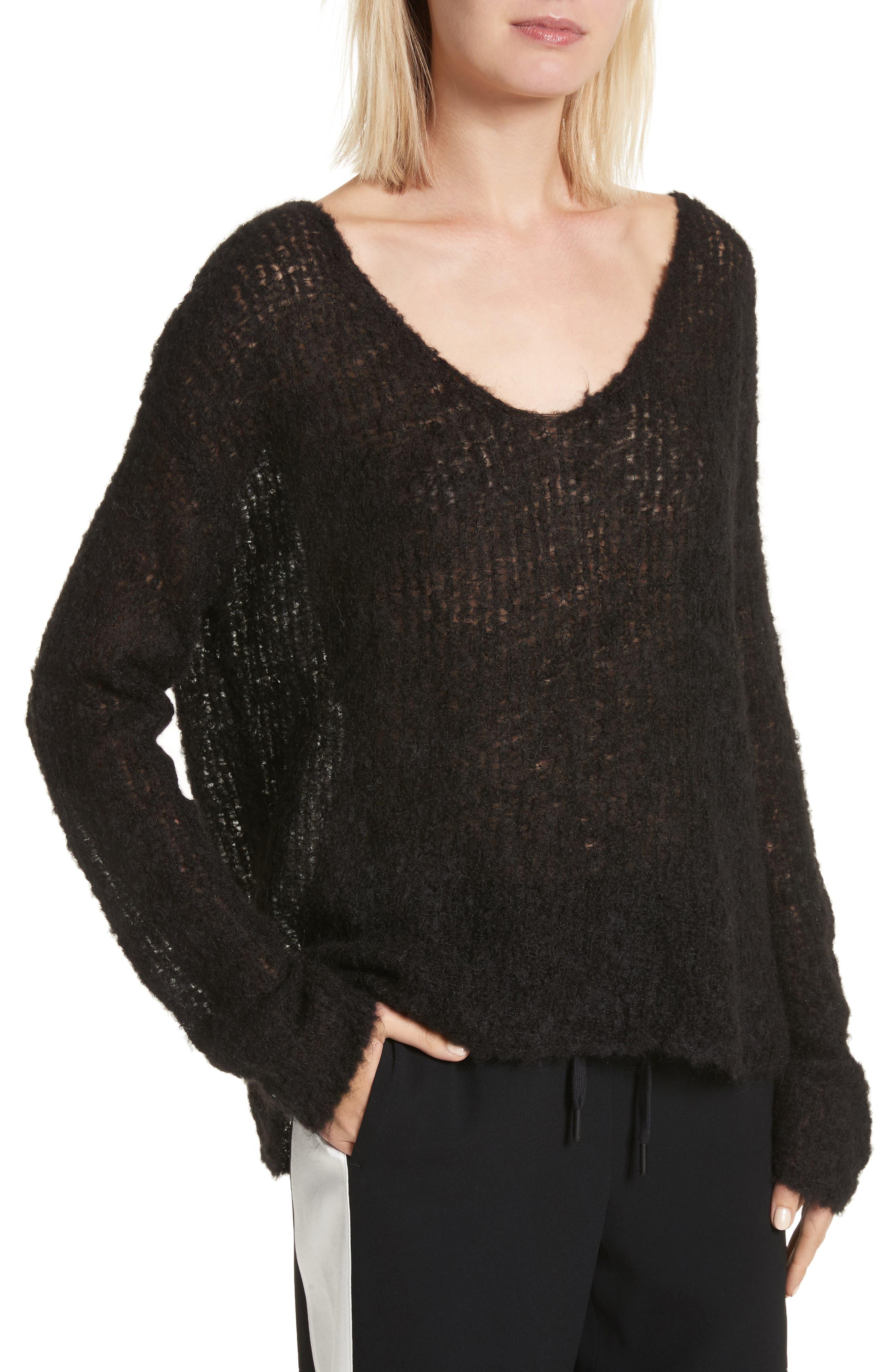 Freda Alpaca Blend Sweater,                             Alternate thumbnail 4, color,                             Black