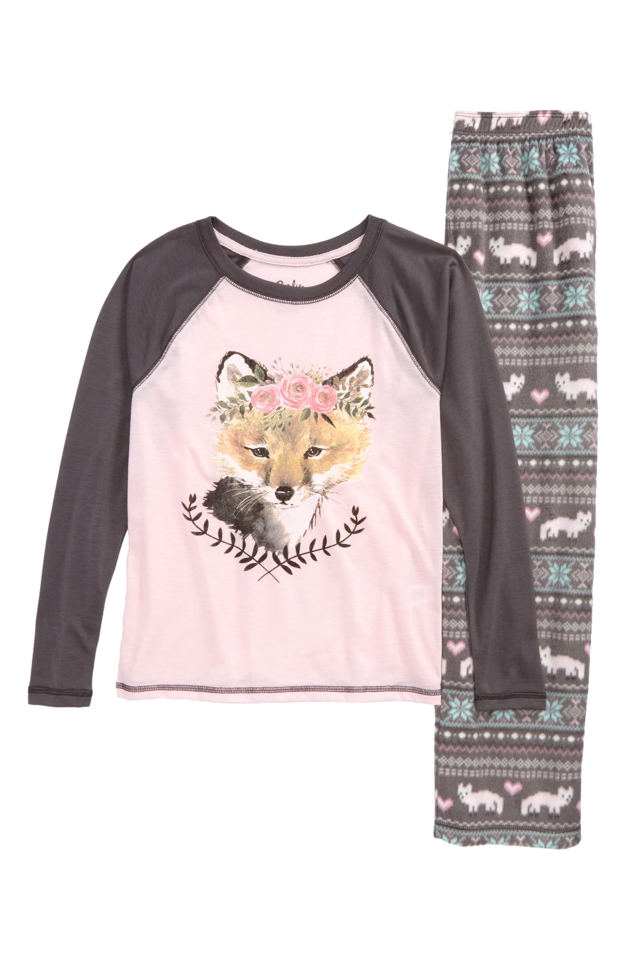Pretty Foxy Fitted Two-Piece Pajamas,                         Main,                         color, Grey