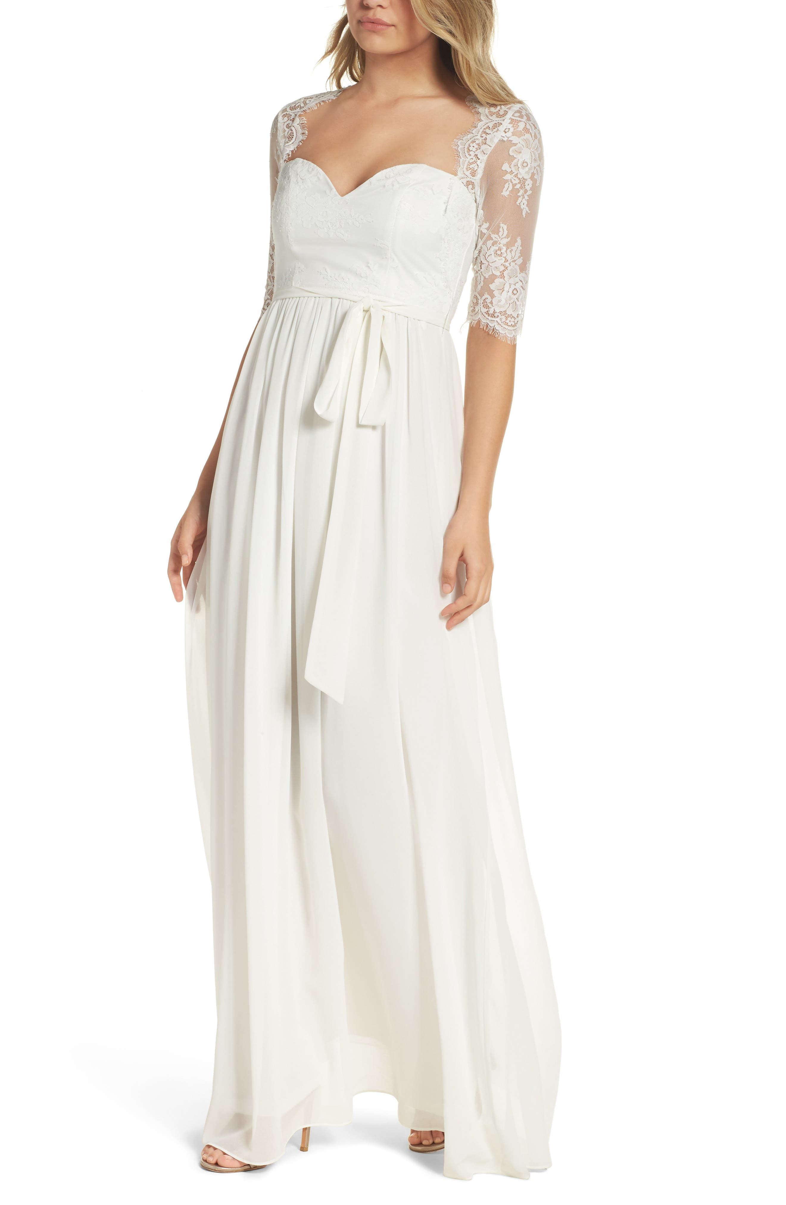 Sweetheart Chiffon Gown,                         Main,                         color, White