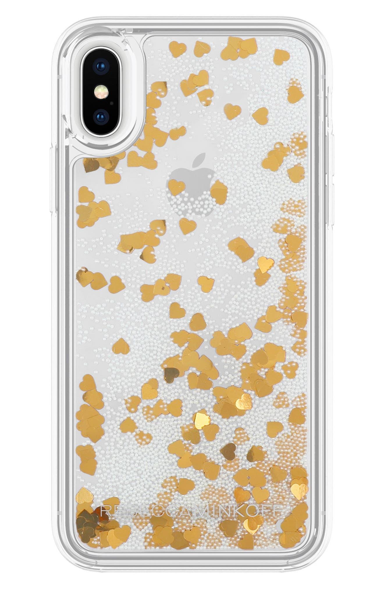 Glitterfall iPhone 8 Plus Case,                             Main thumbnail 1, color,                             Mini Pearls/ Heart Confetti