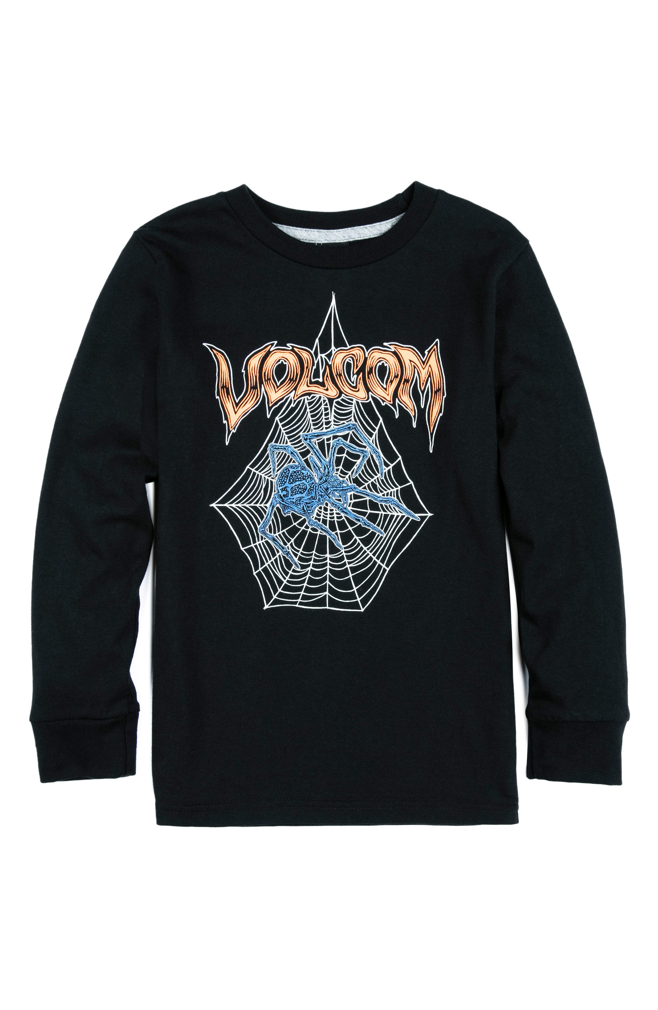 Main Image - Volcom Venom Spider Glow-in-the-Dark Long Sleeve T-Shirt (Toddler Boys & Little Boys)