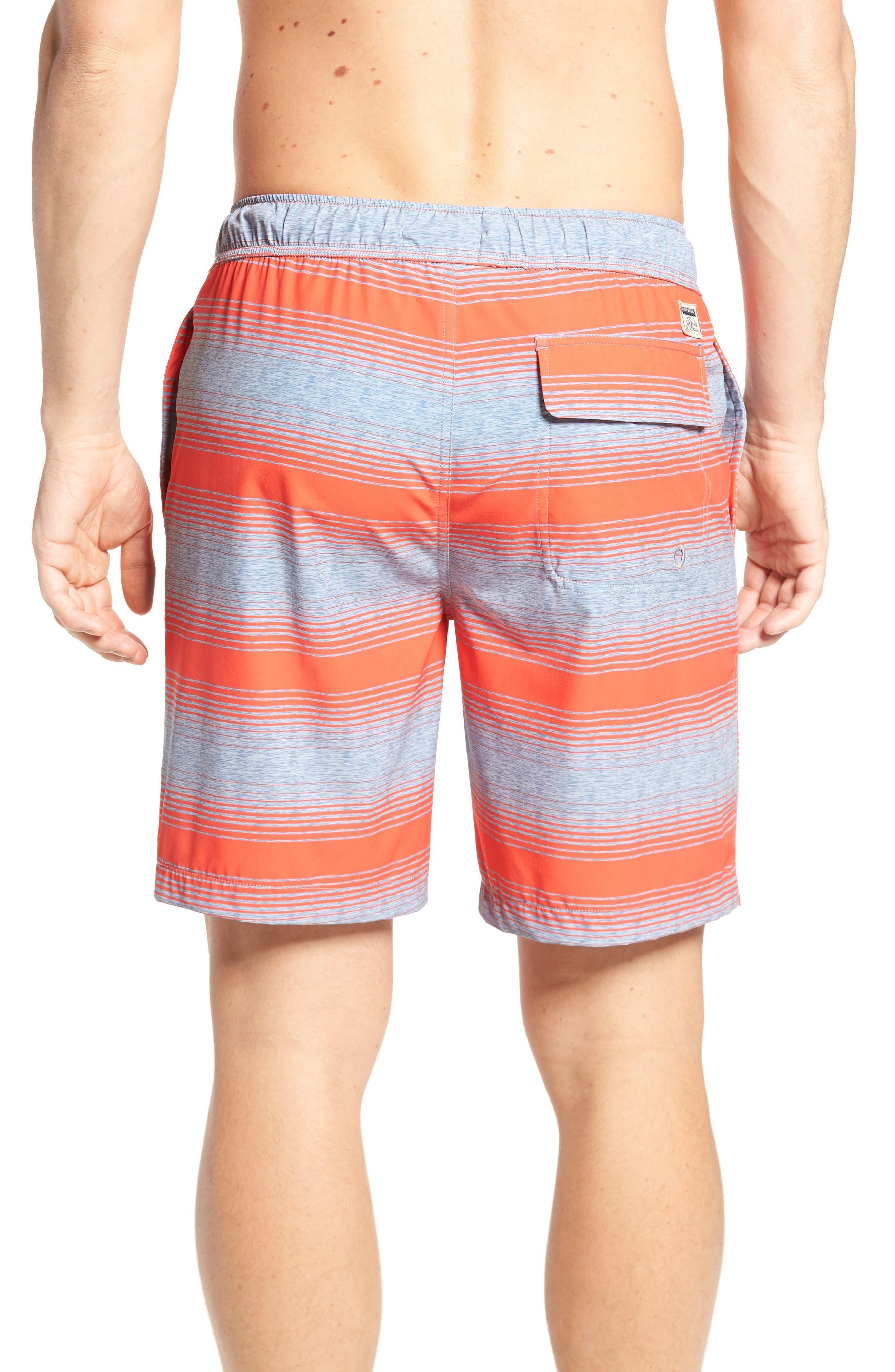 Stripe Swim Trunks,                             Alternate thumbnail 2, color,                             Hot Coral
