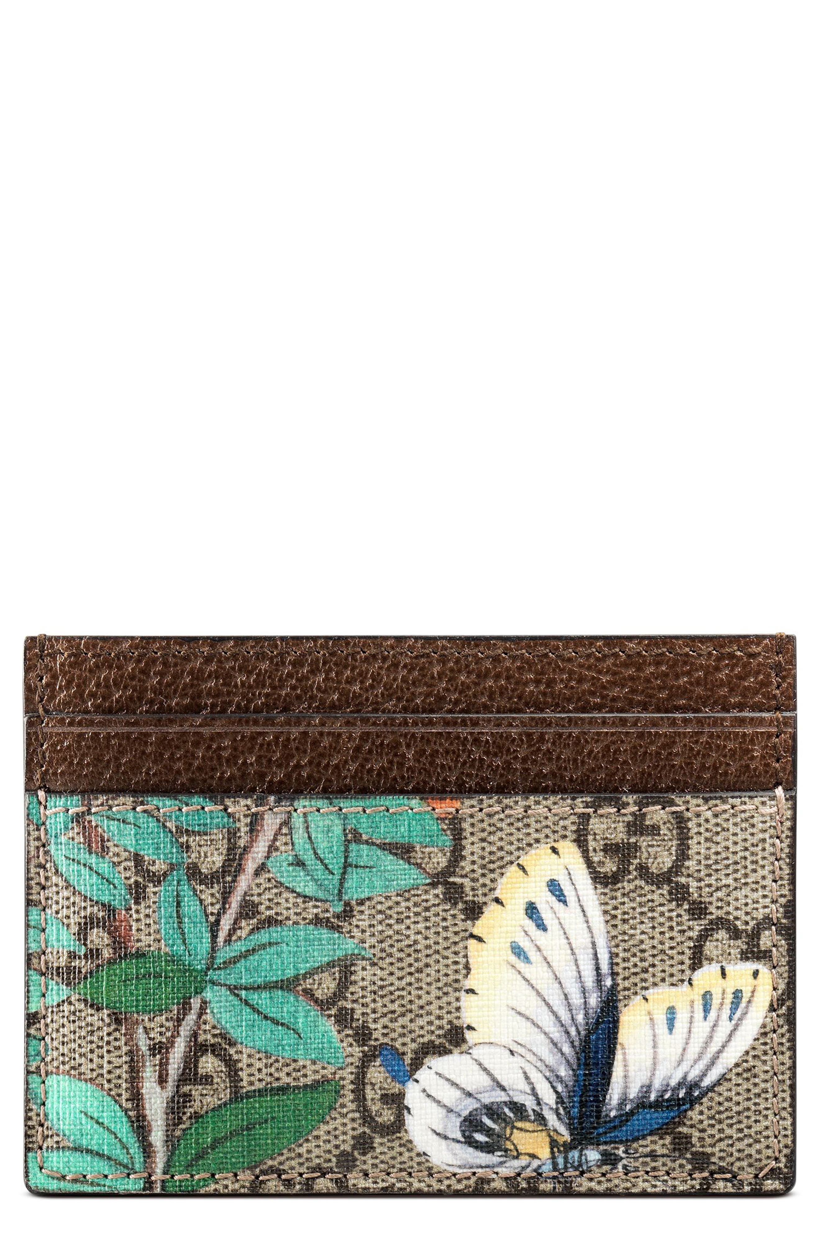 Butterfly Card Case,                         Main,                         color, Beige