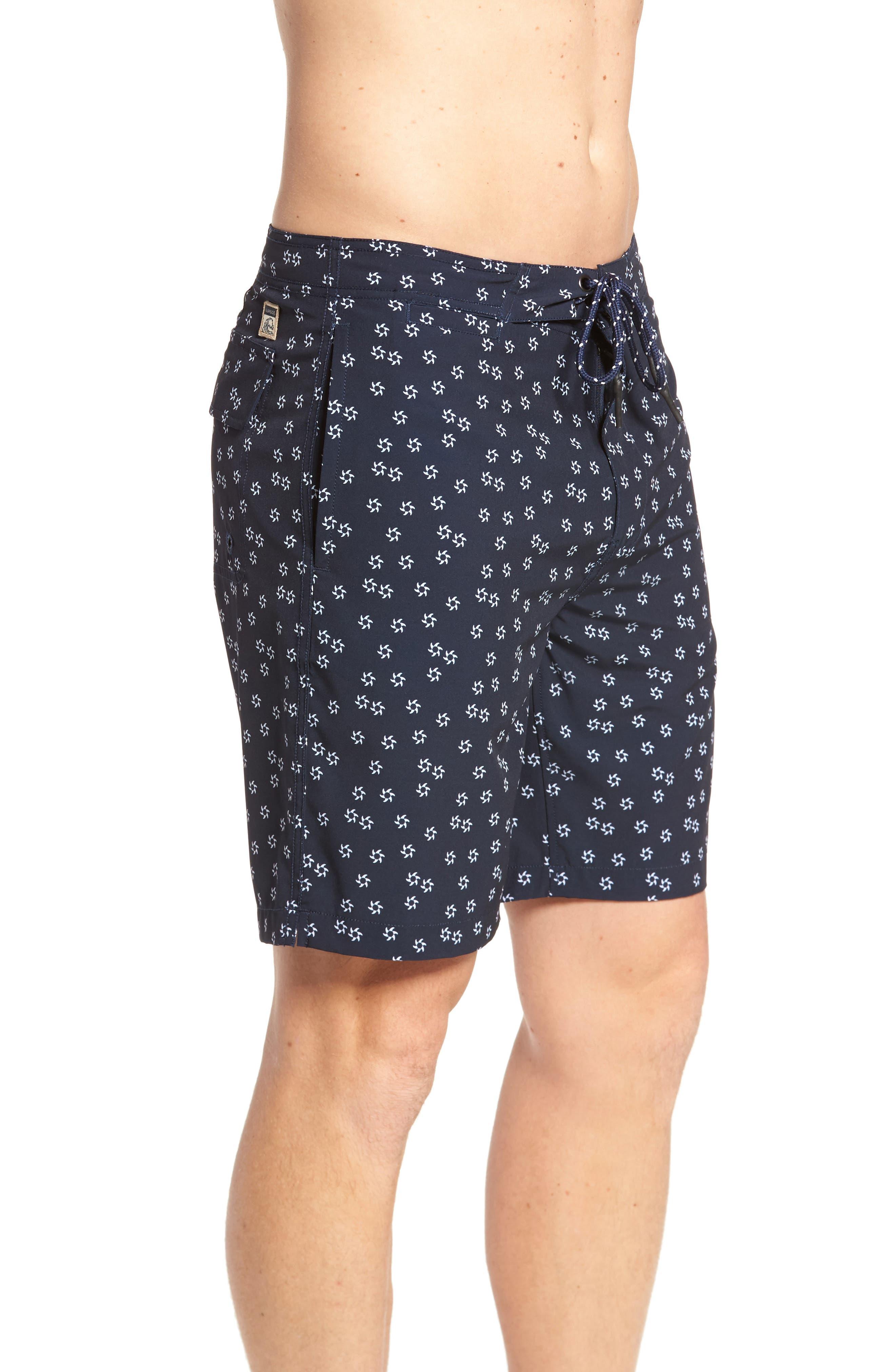 Fin Print Board Shorts,                             Alternate thumbnail 3, color,                             Navy Blazer