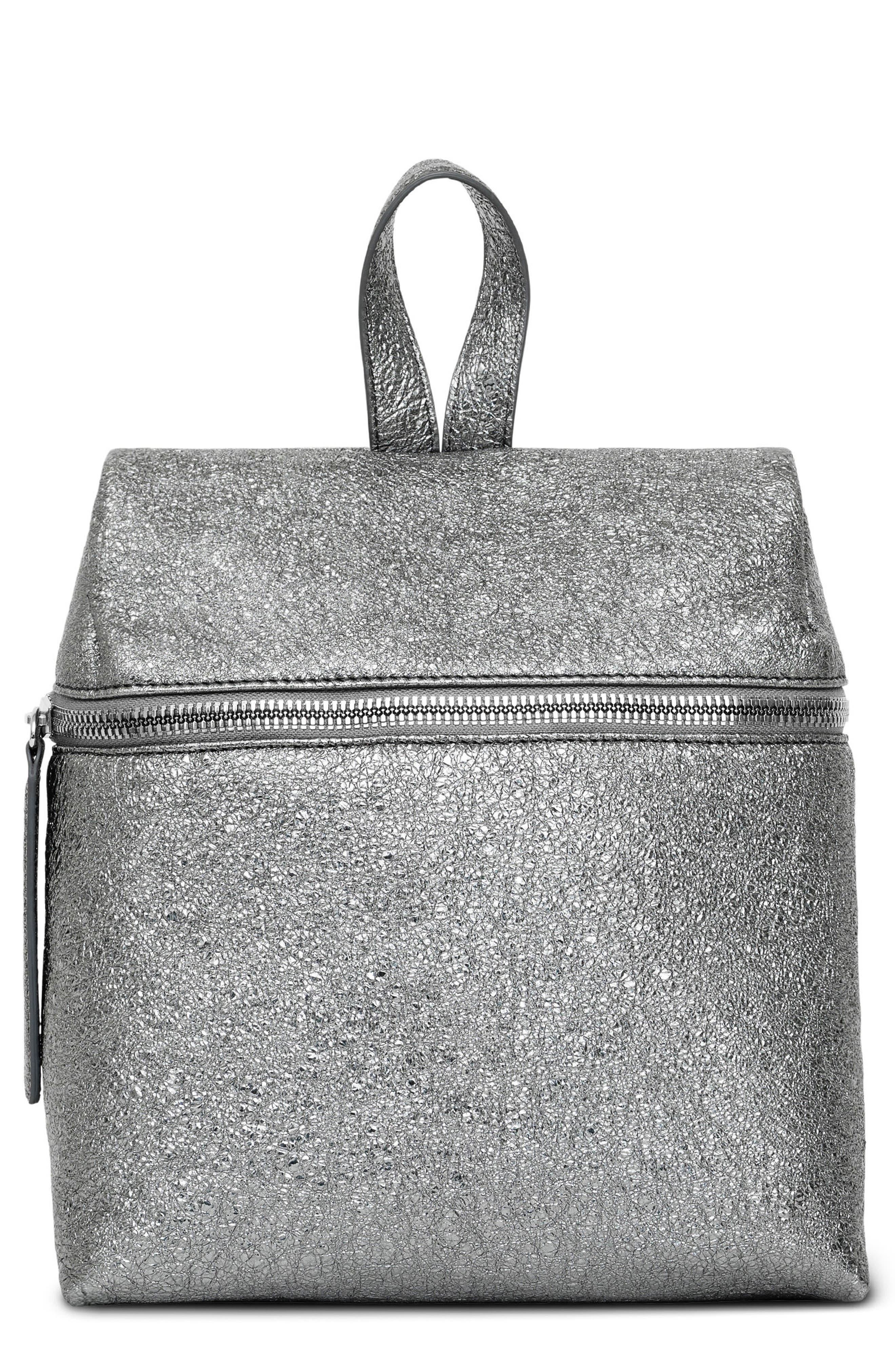 Small Crinkled Metallic Leather Backpack,                         Main,                         color, Pyrite