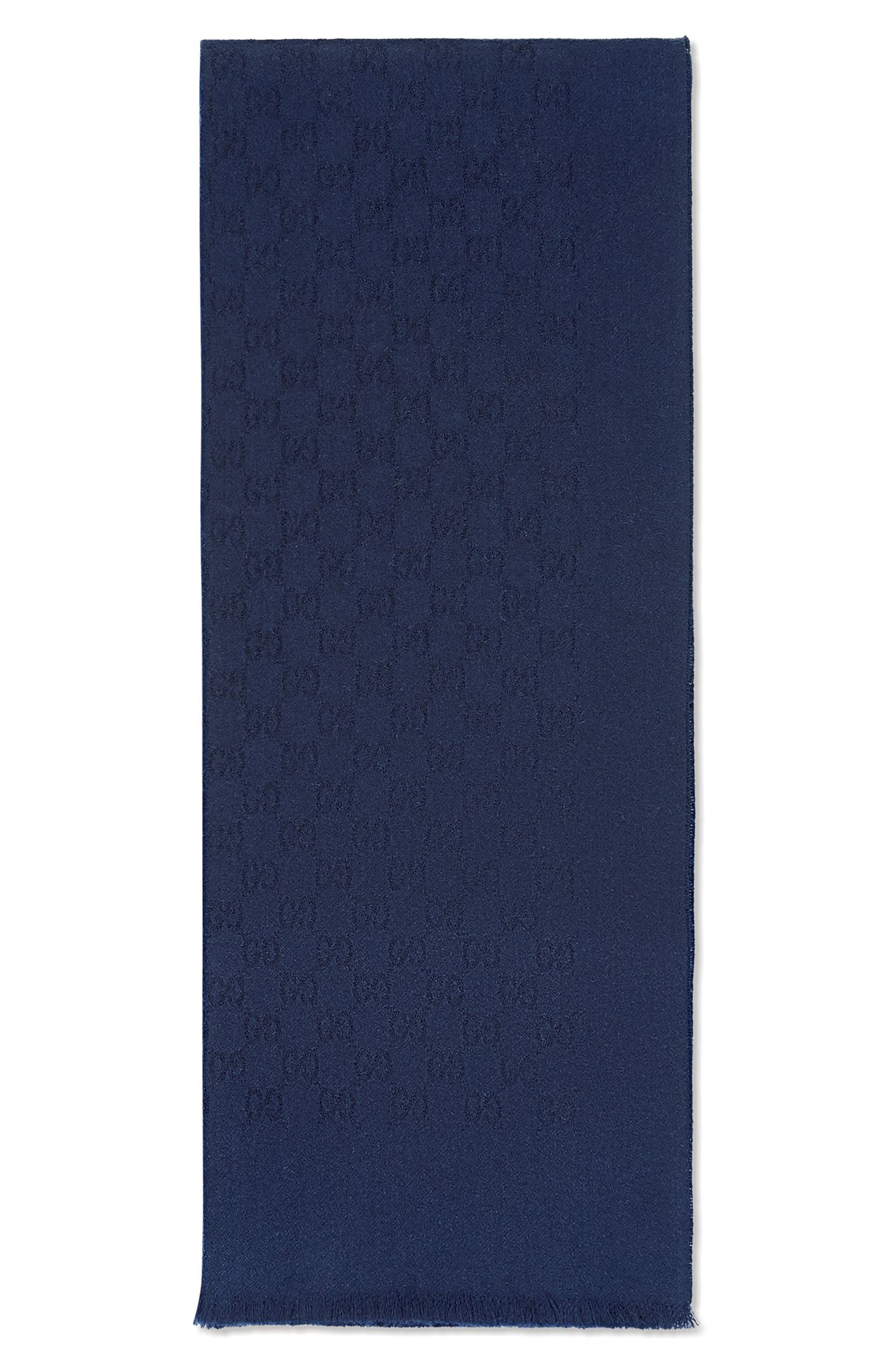 GG Gem Lux Jacquard Cashmere Scarf,                         Main,                         color, 4000 Midnight Blue