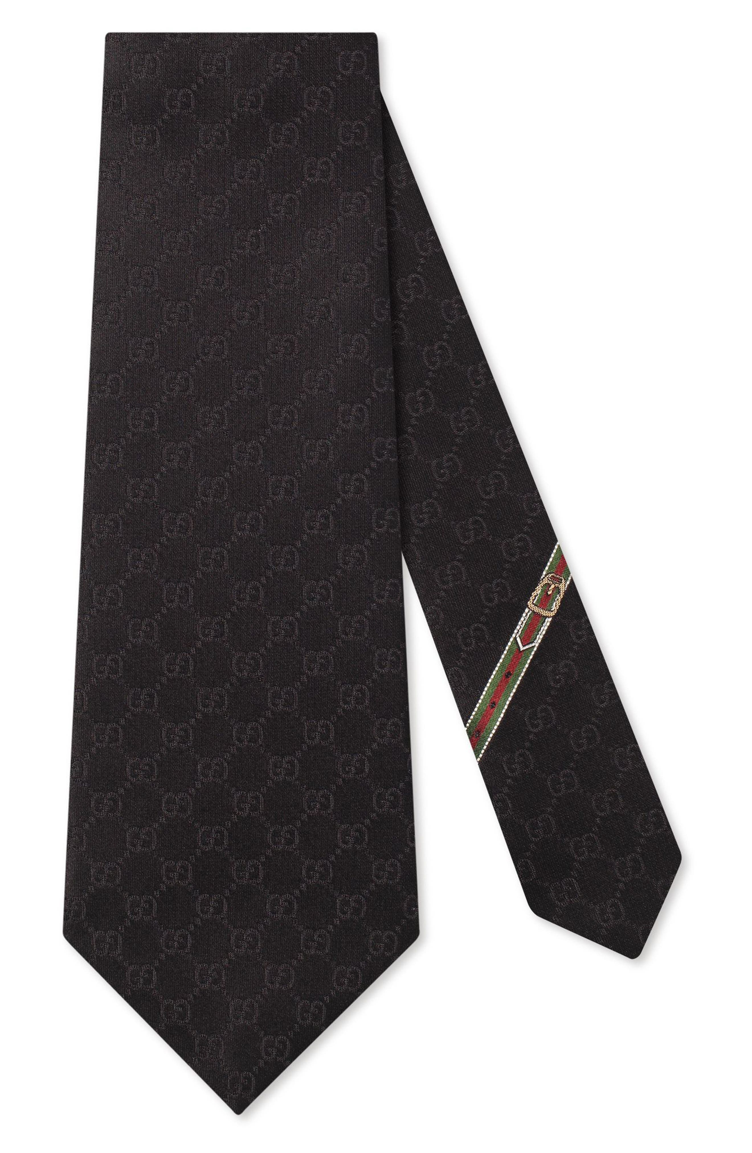 Fedra Silk Jacquard Tie,                             Main thumbnail 1, color,                             Black