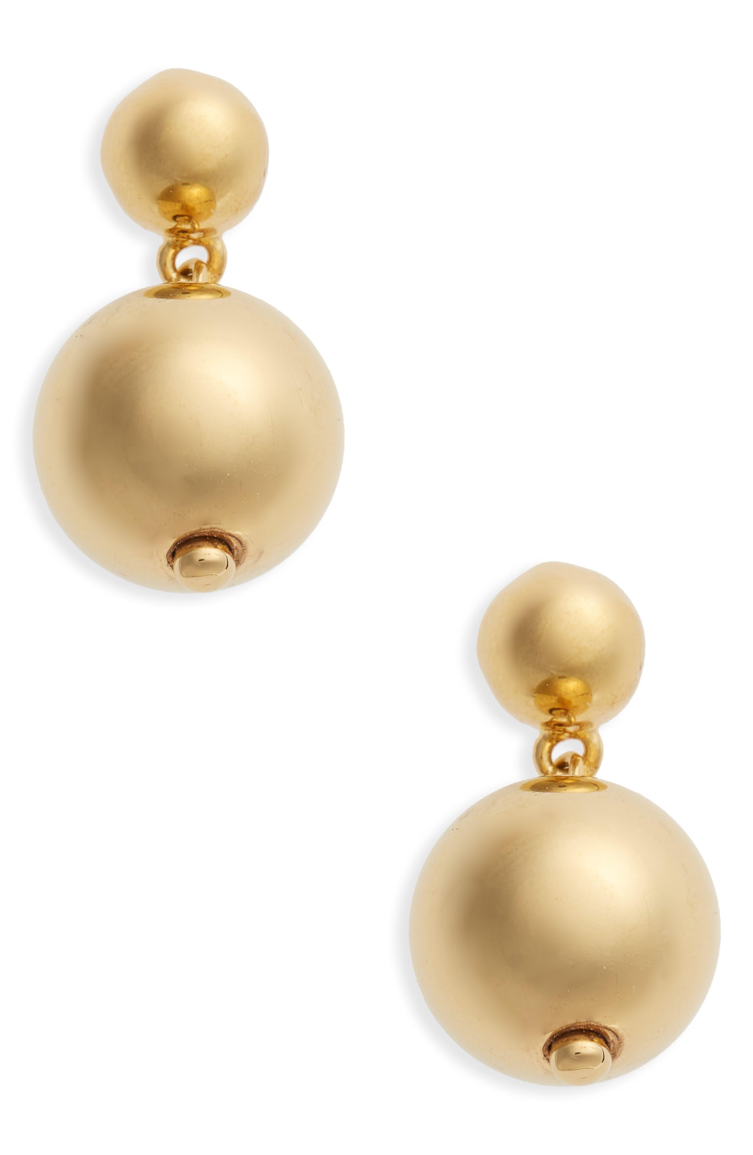 Vermeil Ball Drop Earrings,                         Main,                         color, Gold