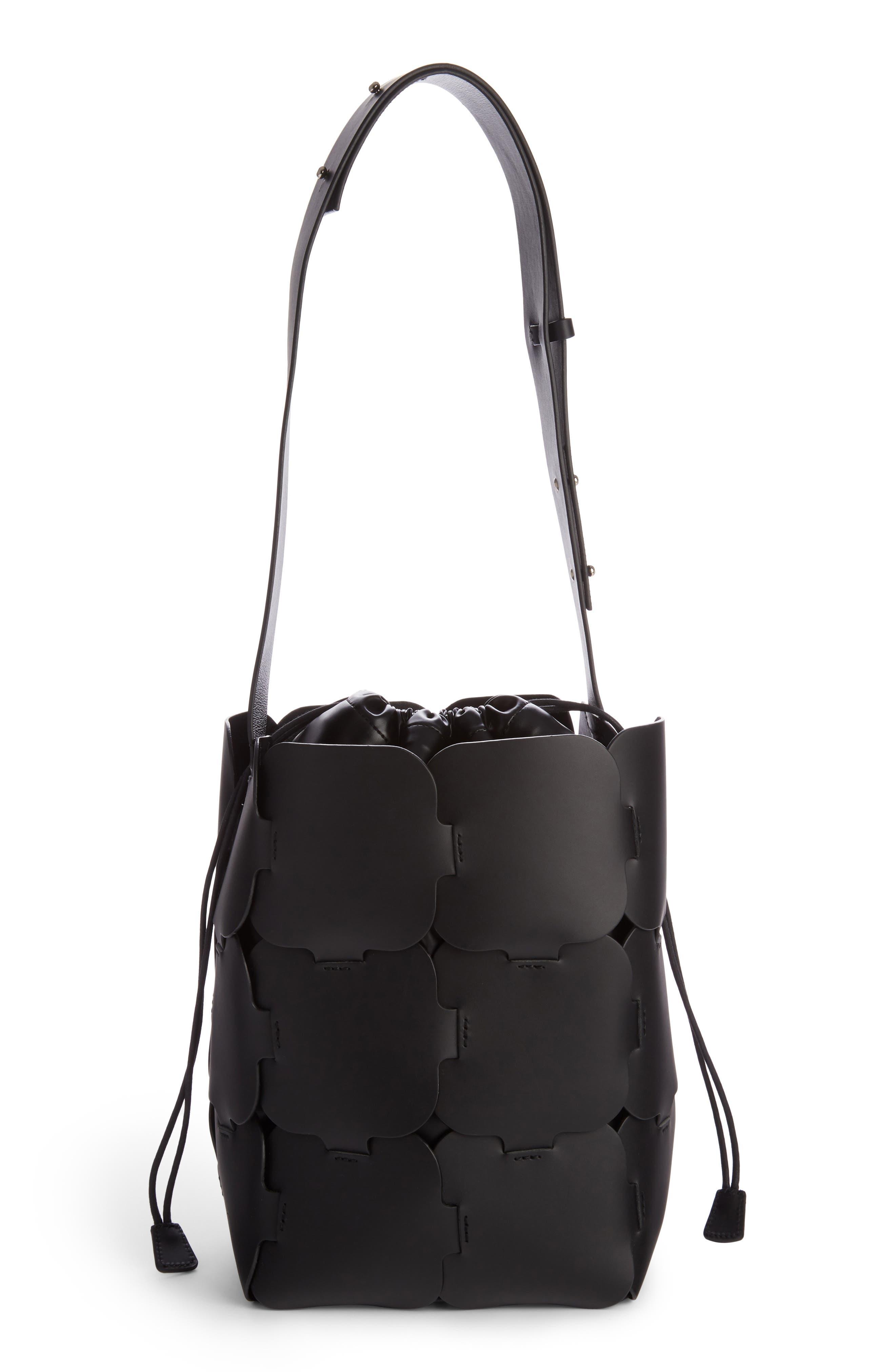 Medium Element Leather Bucket Bag,                             Alternate thumbnail 2, color,                             Black