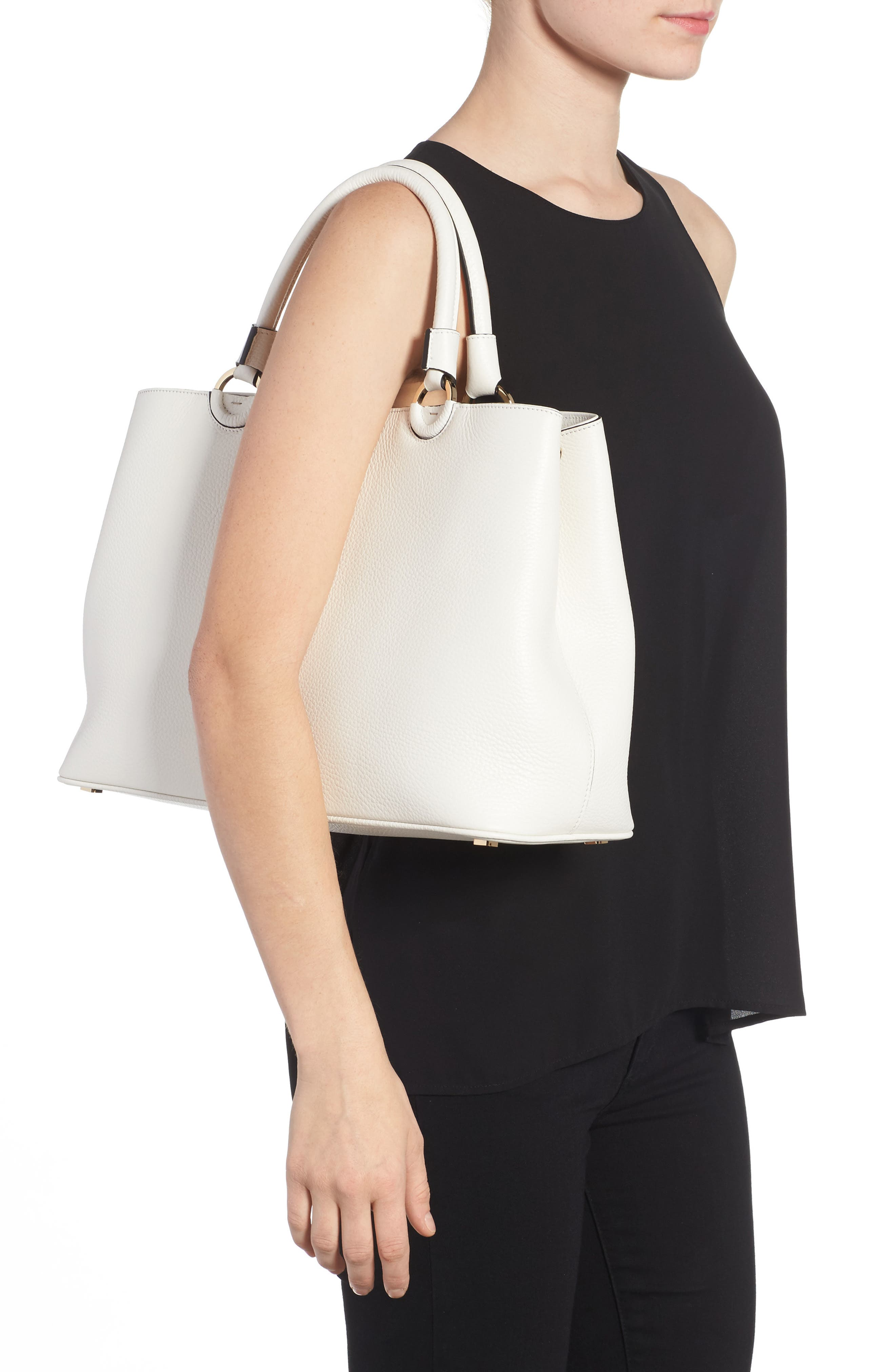 Veronica Cachemire Leather Tote,                             Alternate thumbnail 2, color,                             New Milk