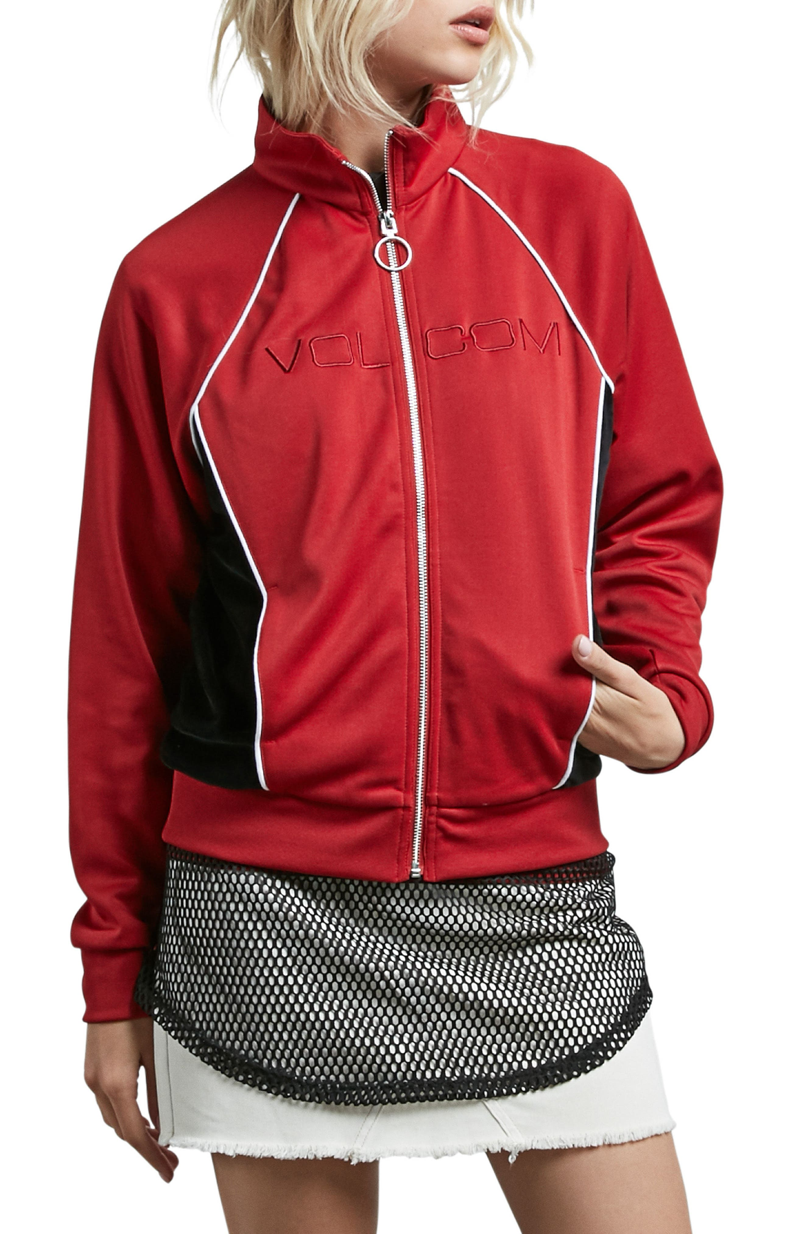 True to Track Jacket,                         Main,                         color, Red Chili