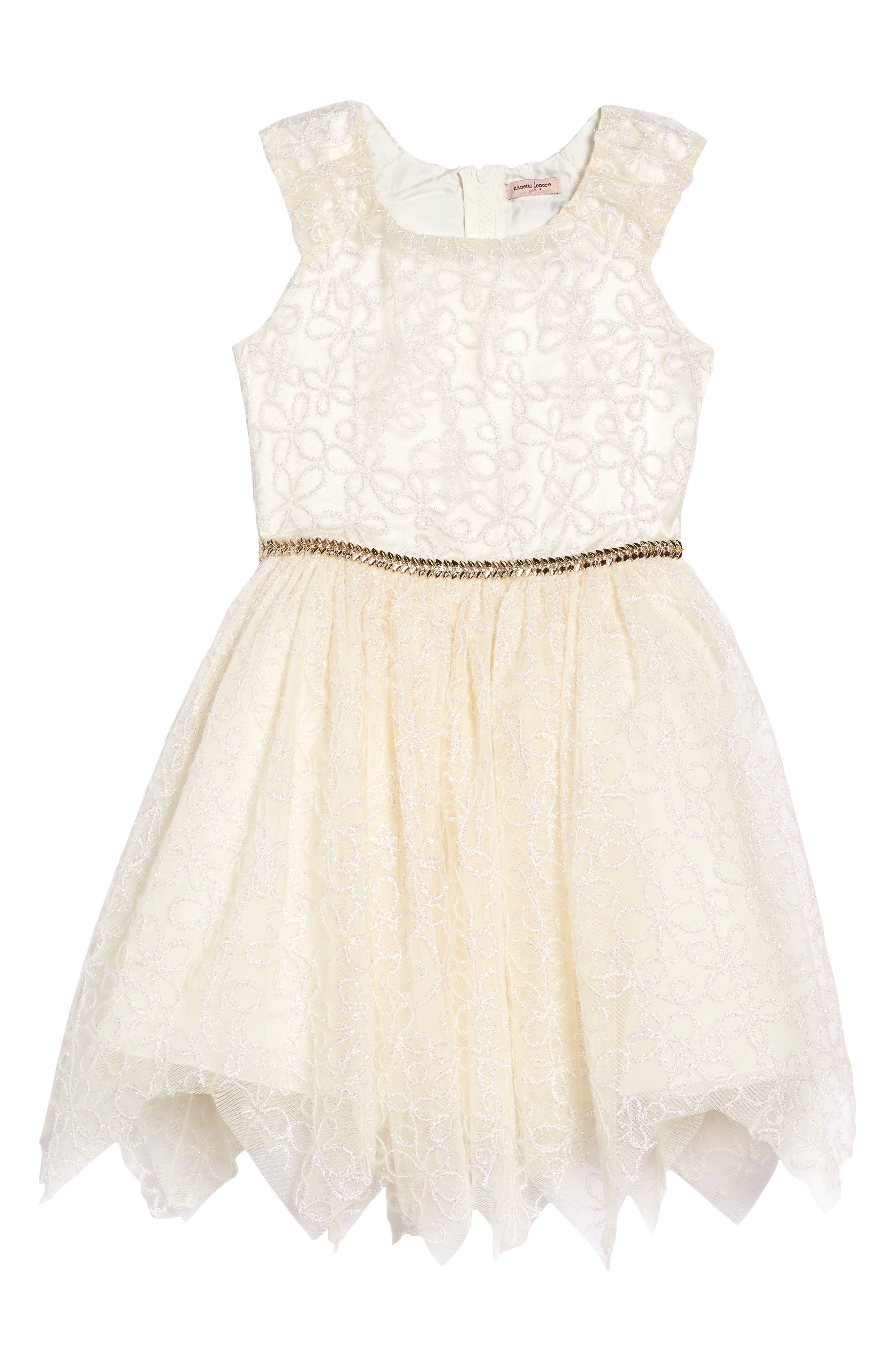 Embroidered Mesh Dress,                         Main,                         color, Cream