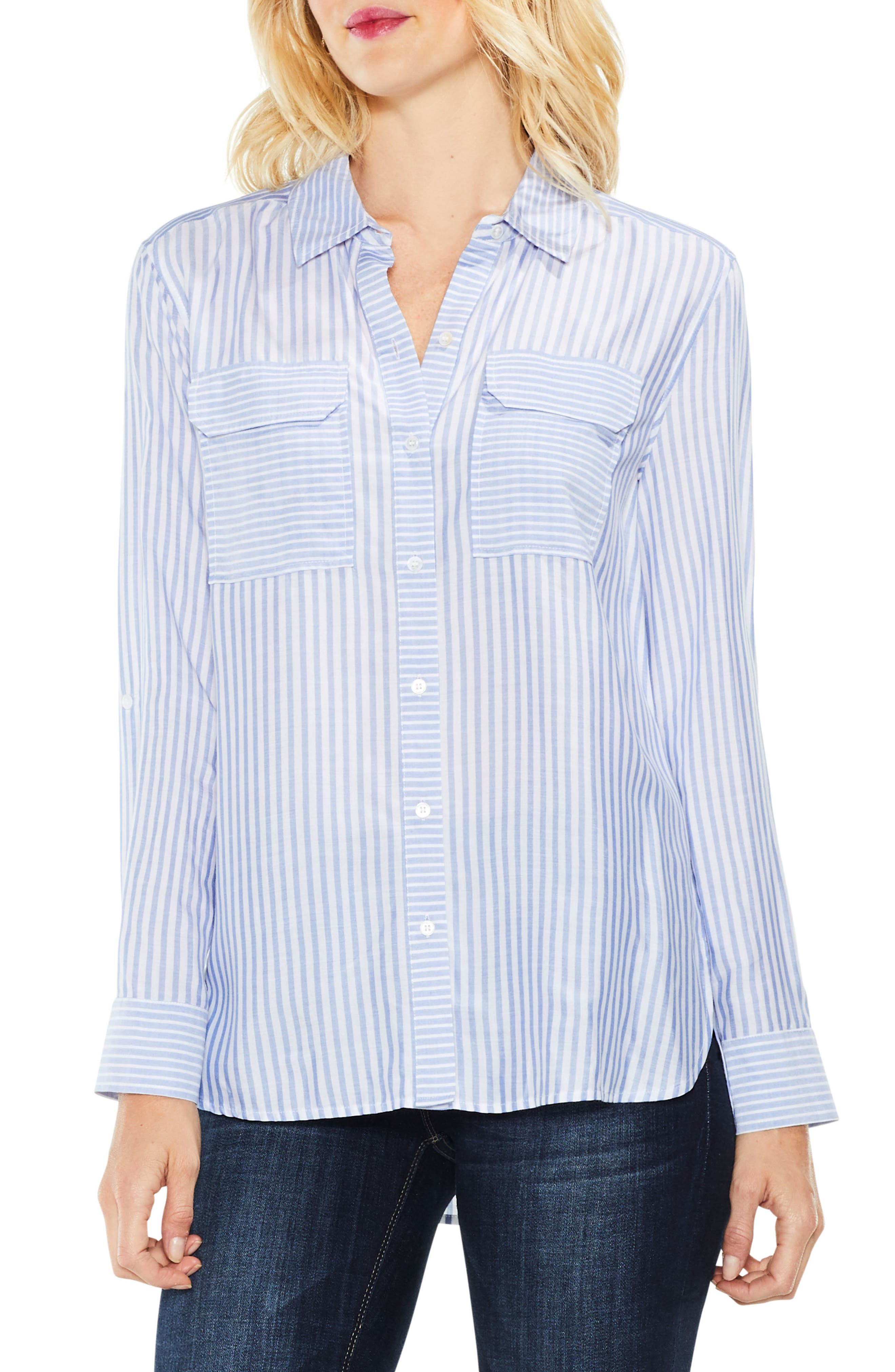 Roll Tab Two-Pocket Shirt,                         Main,                         color, Soft Skies