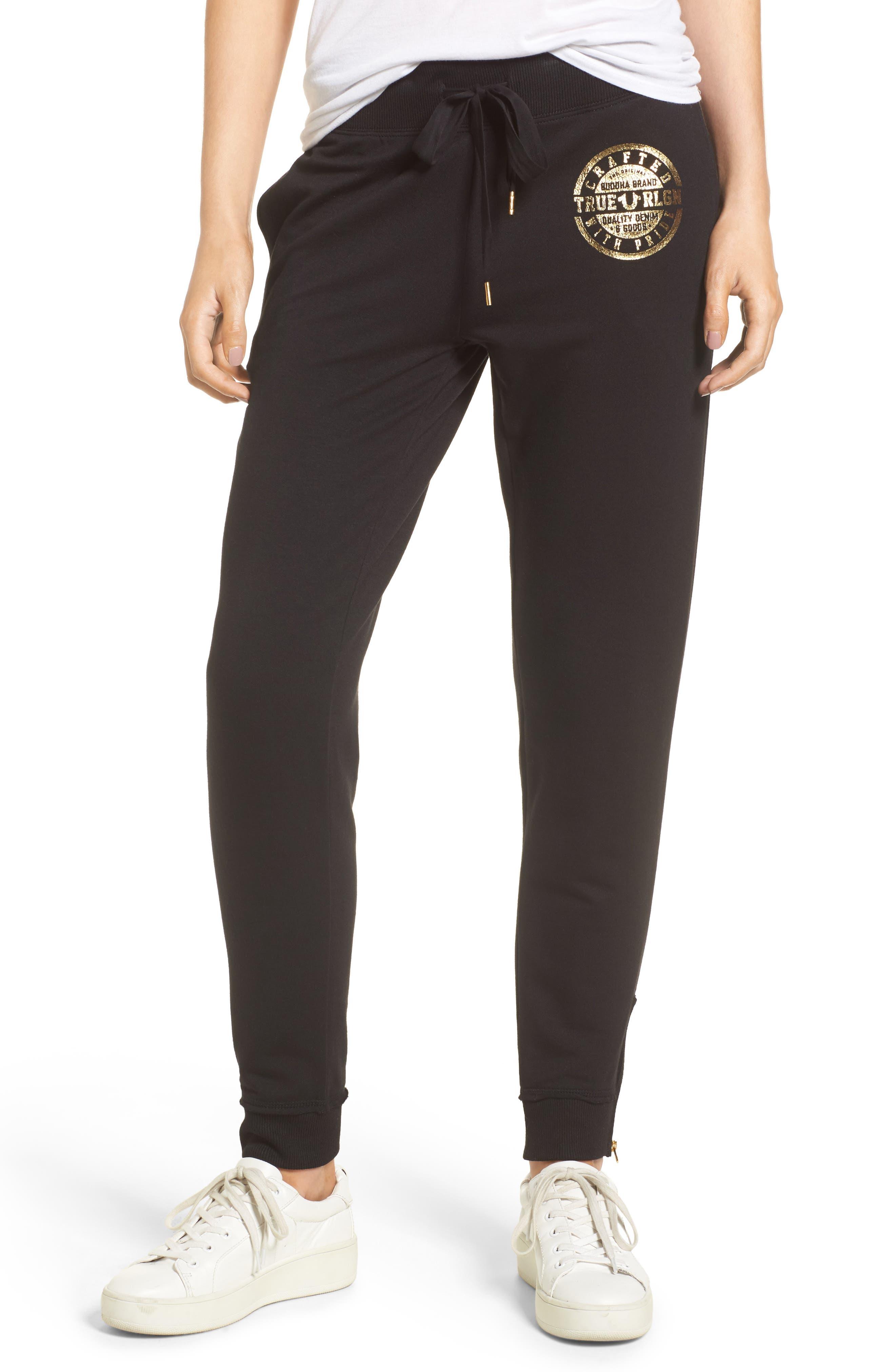 Zip Sweatpants,                         Main,                         color, Black