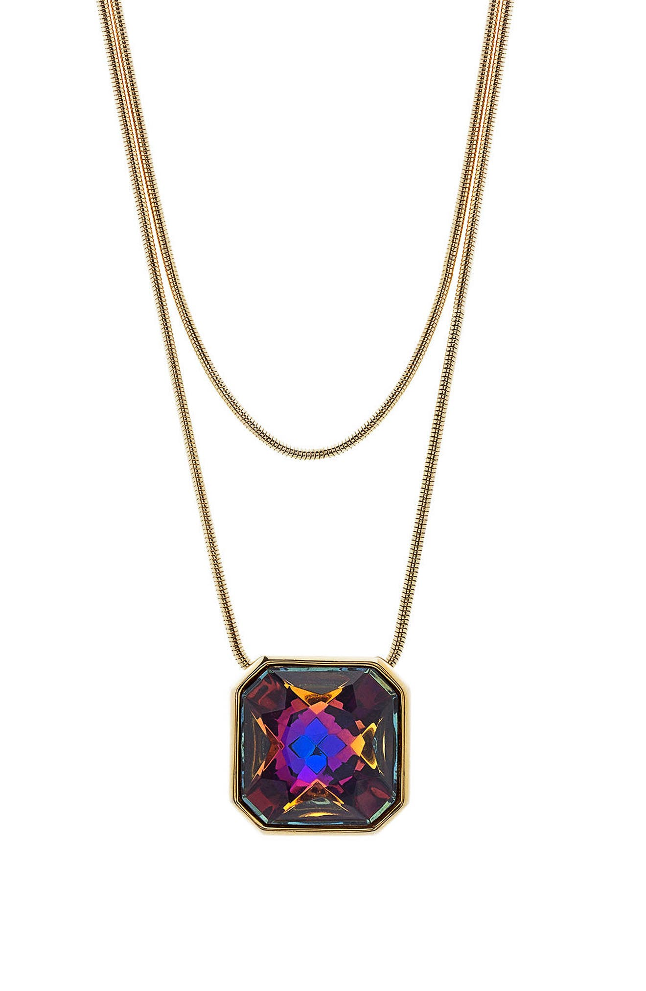 Tubetto Double Strand Crystal Pendant Necklace,                         Main,                         color, Gold