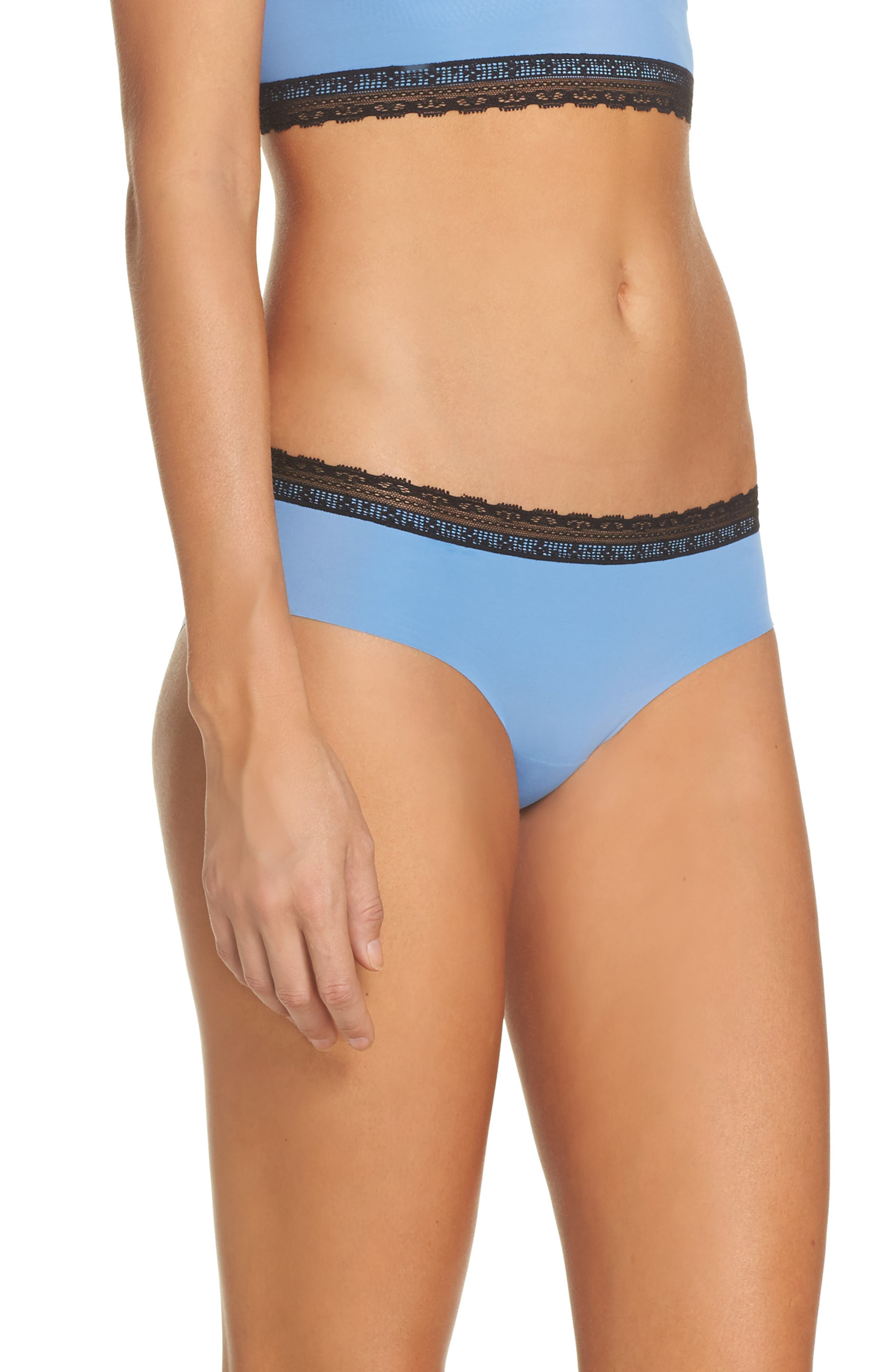 Alternate Image 3  - Naked Almost Naked Lace Trim Hipster Briefs