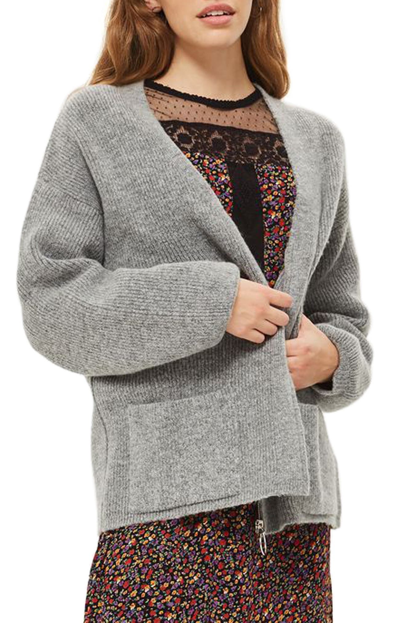 Ring Zip Cardigan,                         Main,                         color, Grey