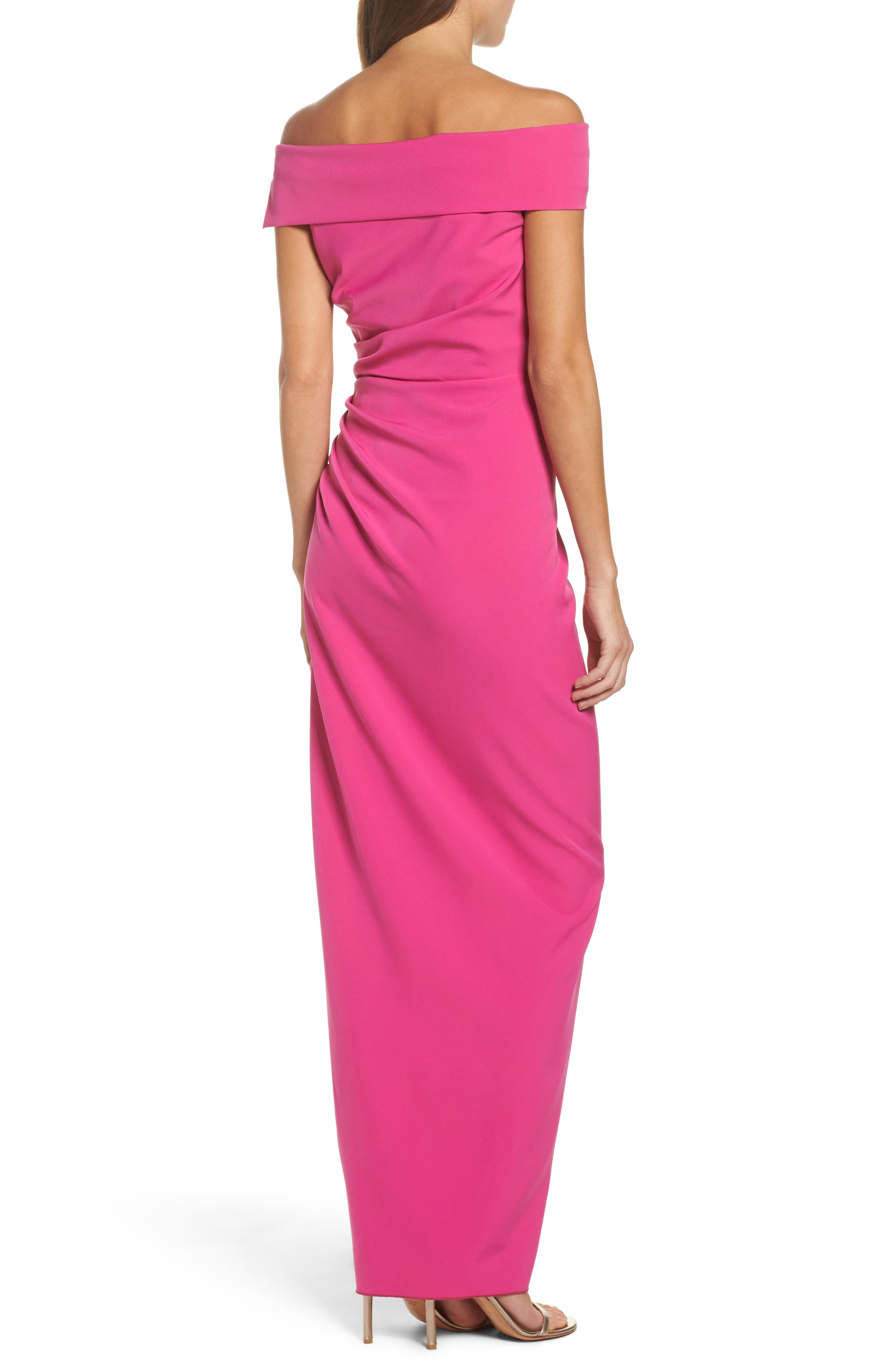Off the Shoulder Crepe Gown,                             Alternate thumbnail 2, color,                             Fuchsia