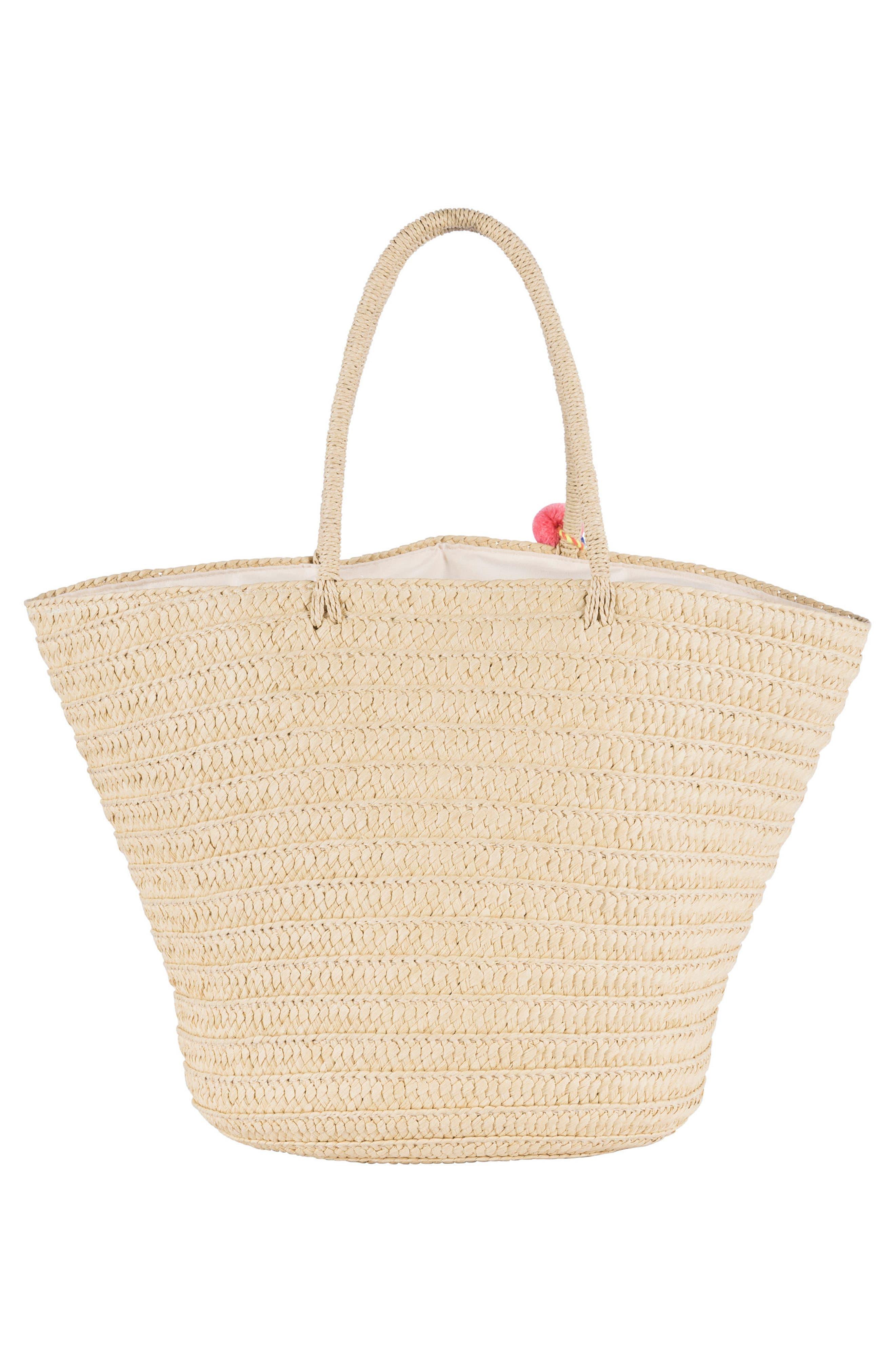Beach Bazaar Straw Bag,                             Alternate thumbnail 4, color,                             Natural