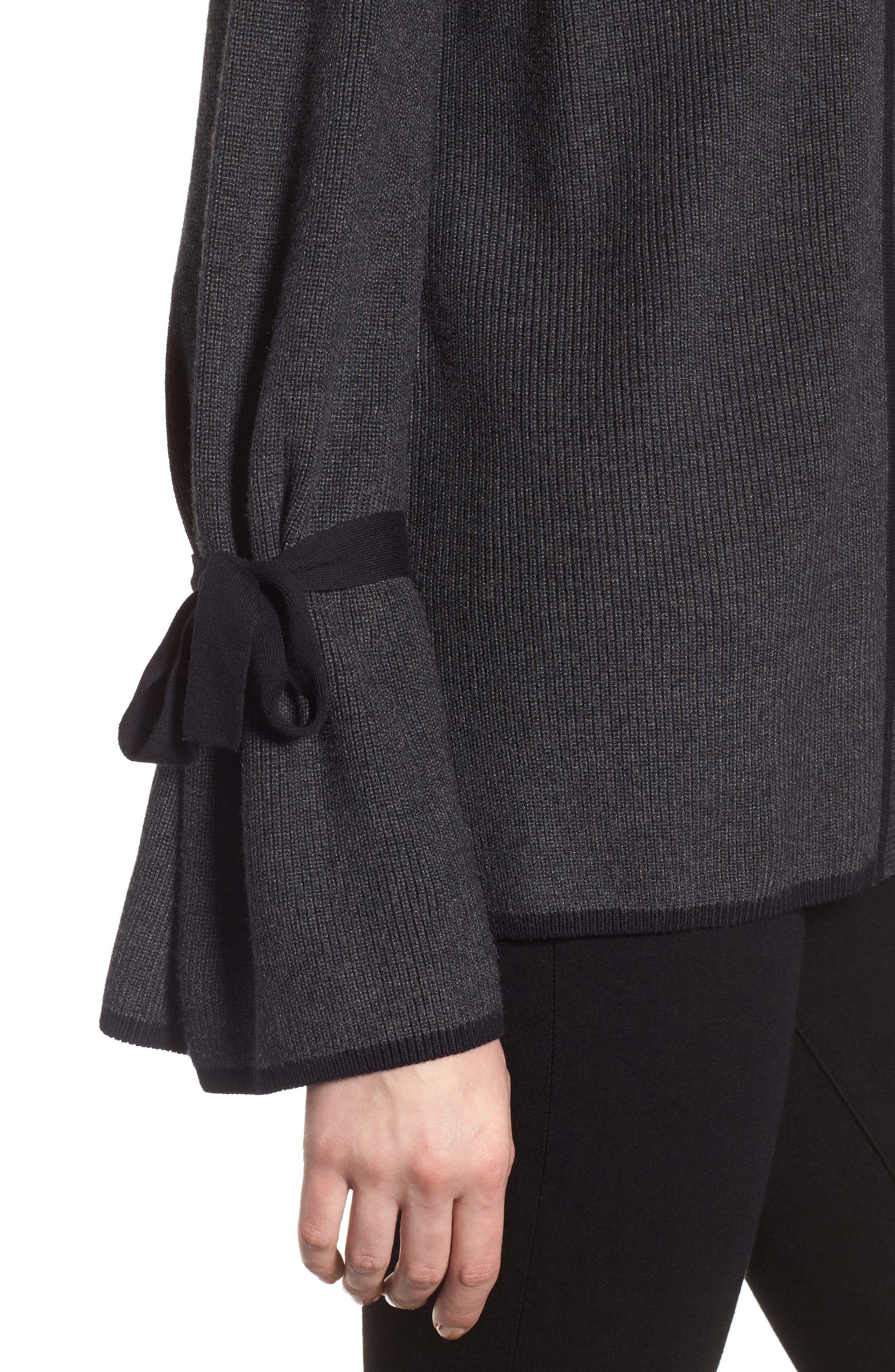 Alternate Image 4  - CeCe Tie Bell Sleeve Cardigan