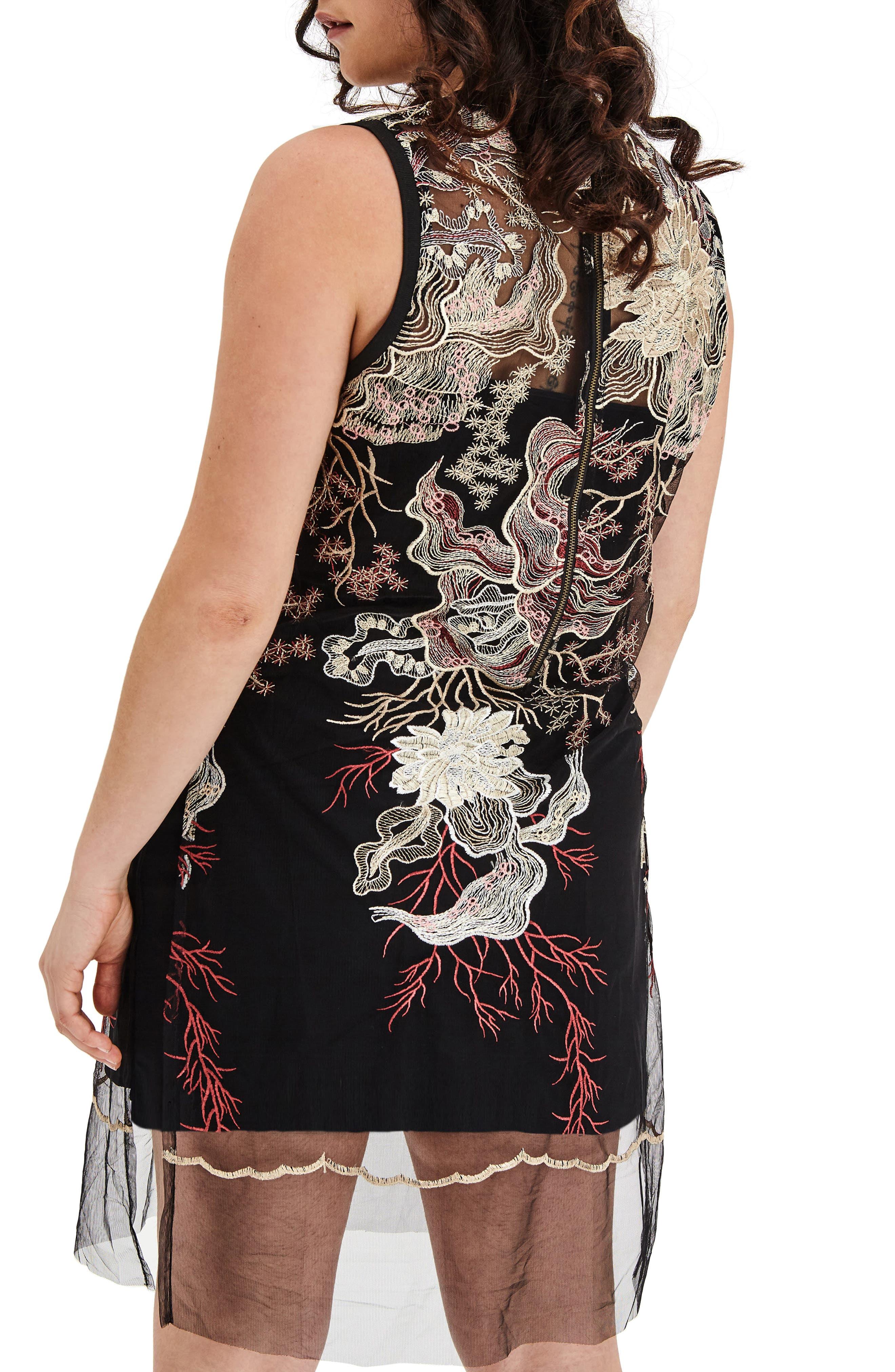 Alternate Image 2  - ELVI Embroidered Mesh Tunic Dress (Plus Size)