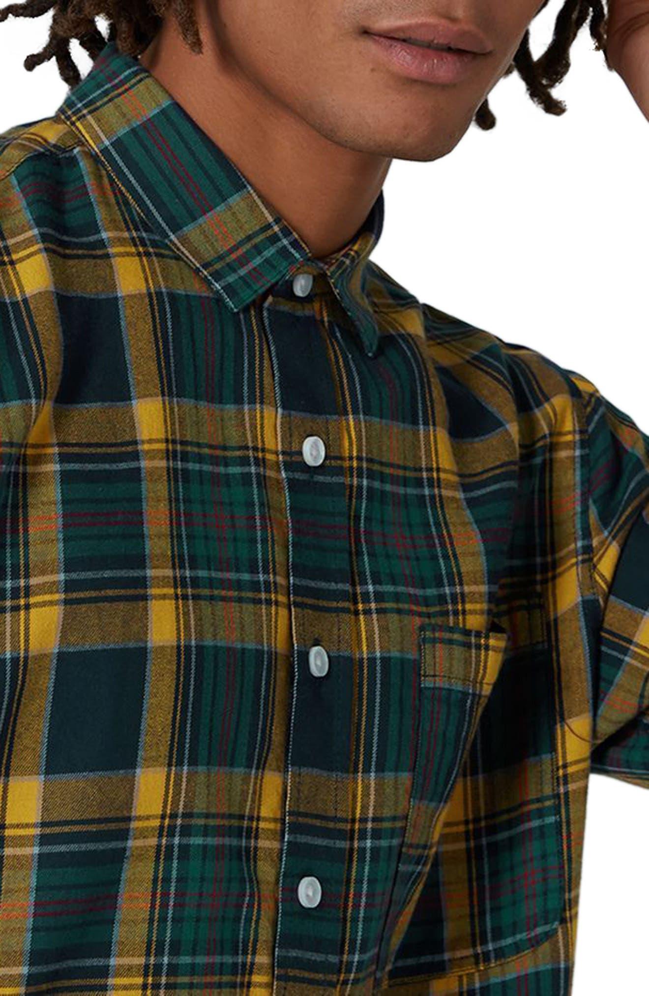 Trim Fit Check Shirt,                             Alternate thumbnail 3, color,                             Navy Blue Multi
