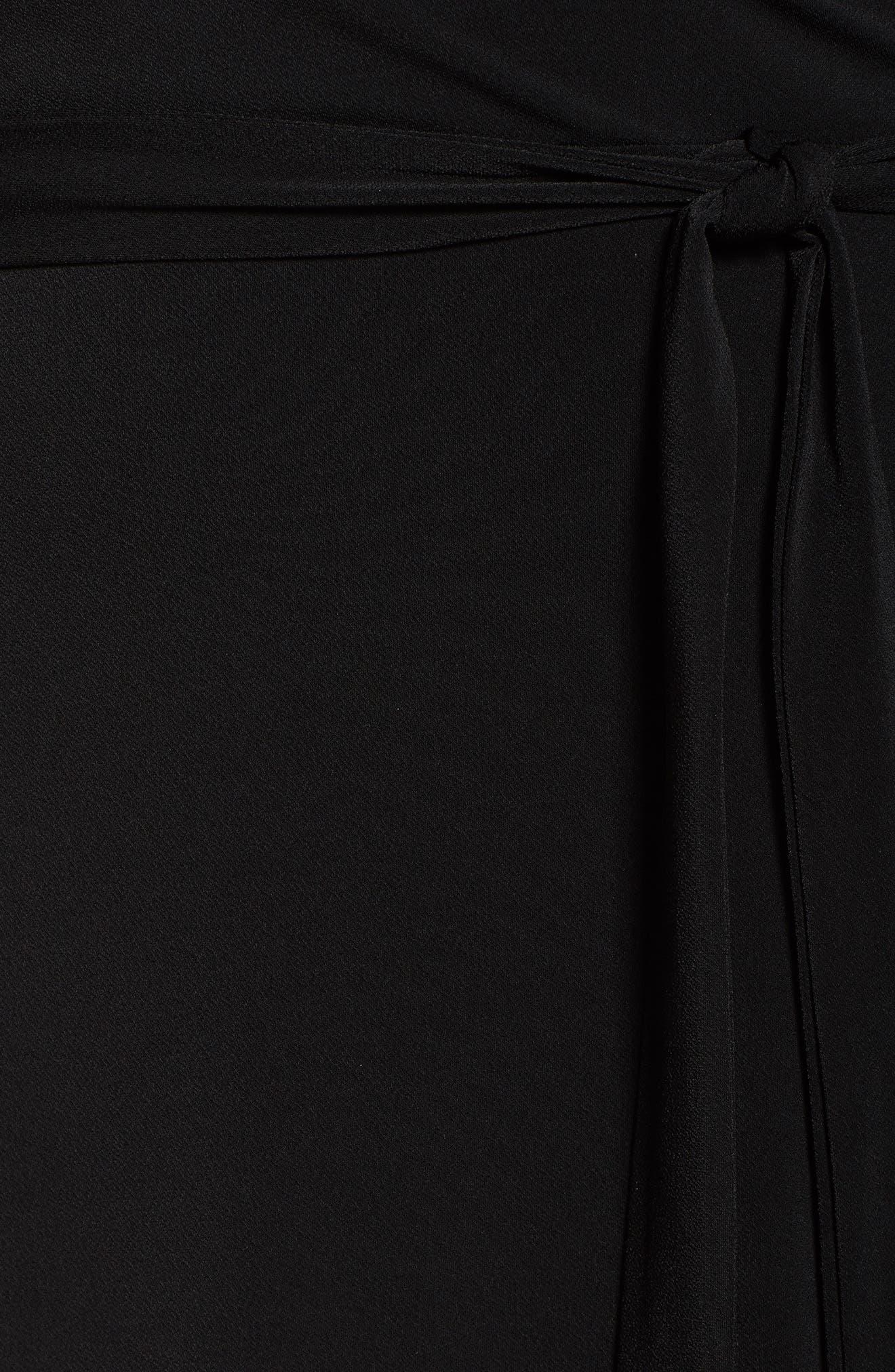 Wrap Dress,                             Alternate thumbnail 6, color,                             Black Crepe