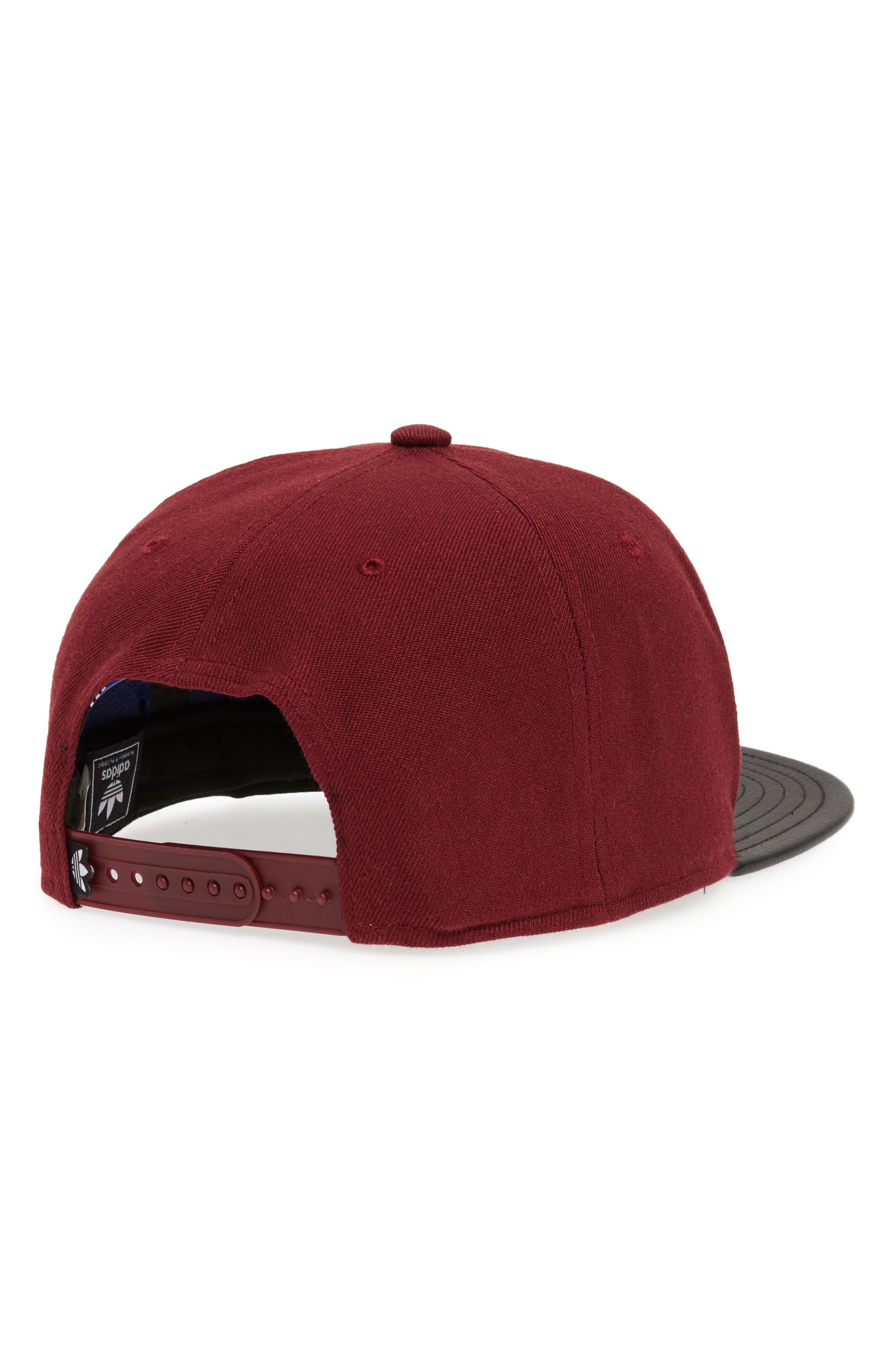 Ori Trefoil Plus Snapback Baseball Cap,                             Alternate thumbnail 2, color,                             Maroon/ Black Pu
