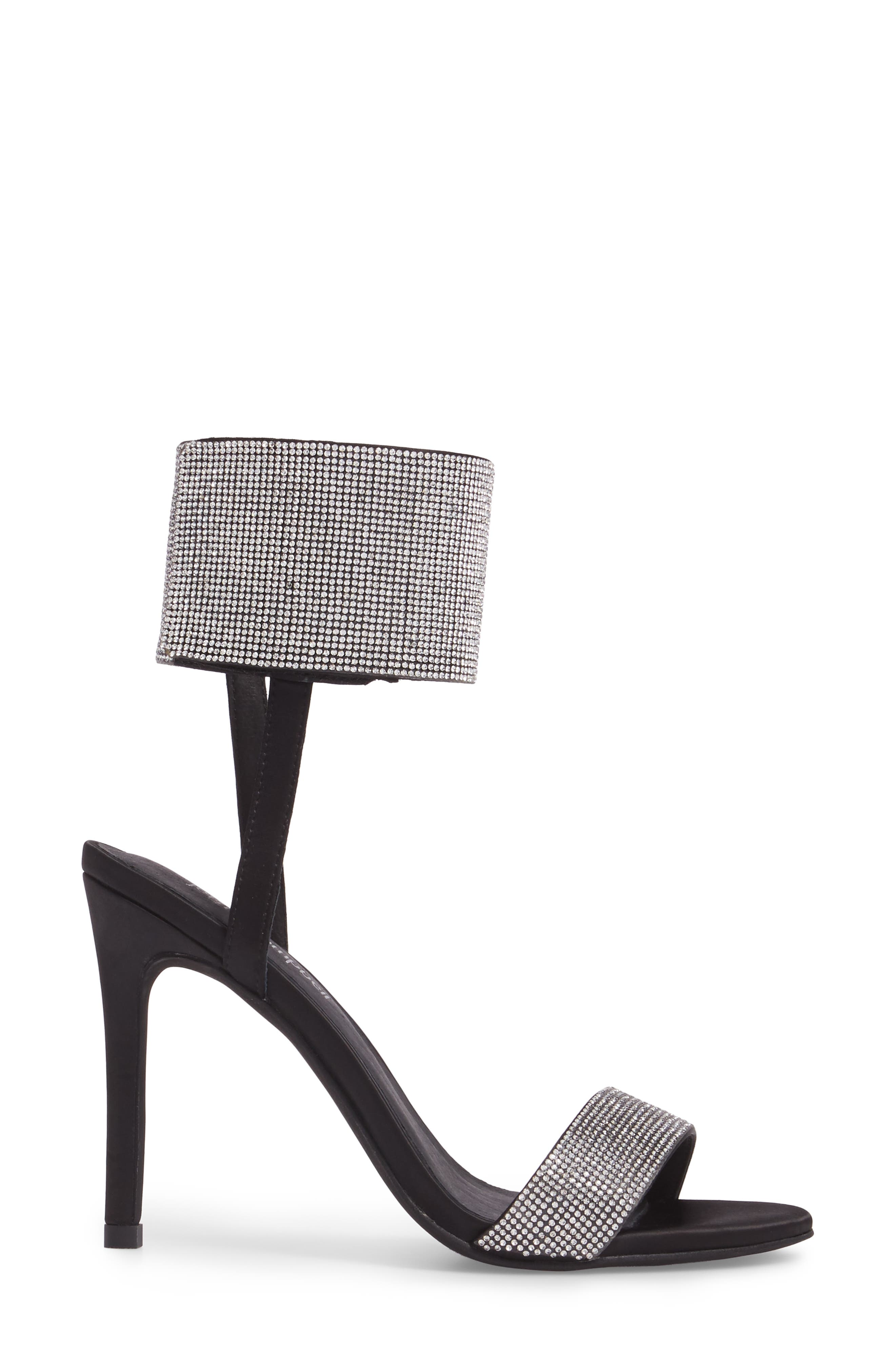 Frost Ankle Cuff Sandal,                             Alternate thumbnail 3, color,                             Black Silver