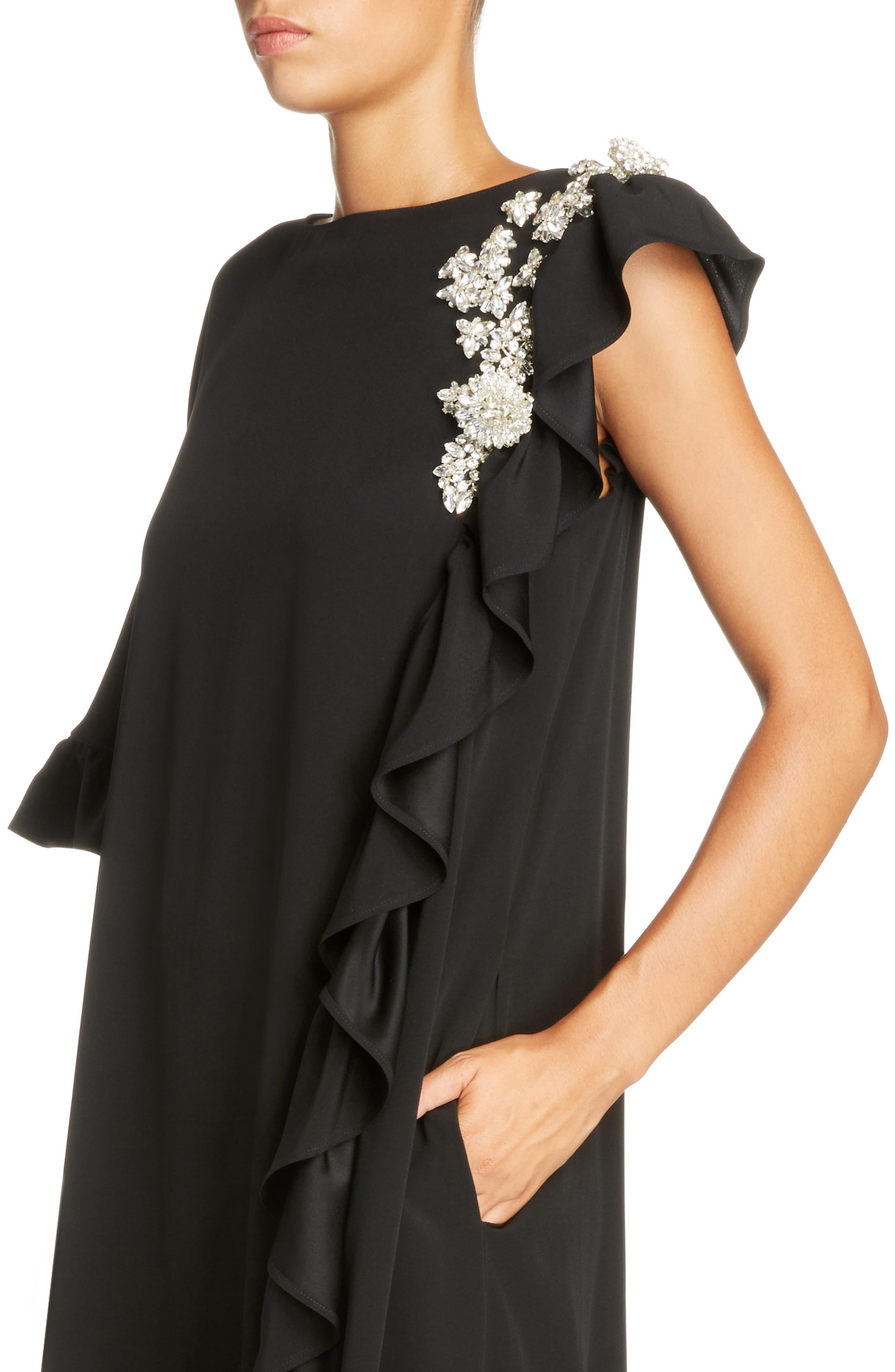 Crystal Embellished Frill Maxi Dress,                             Alternate thumbnail 4, color,                             Black