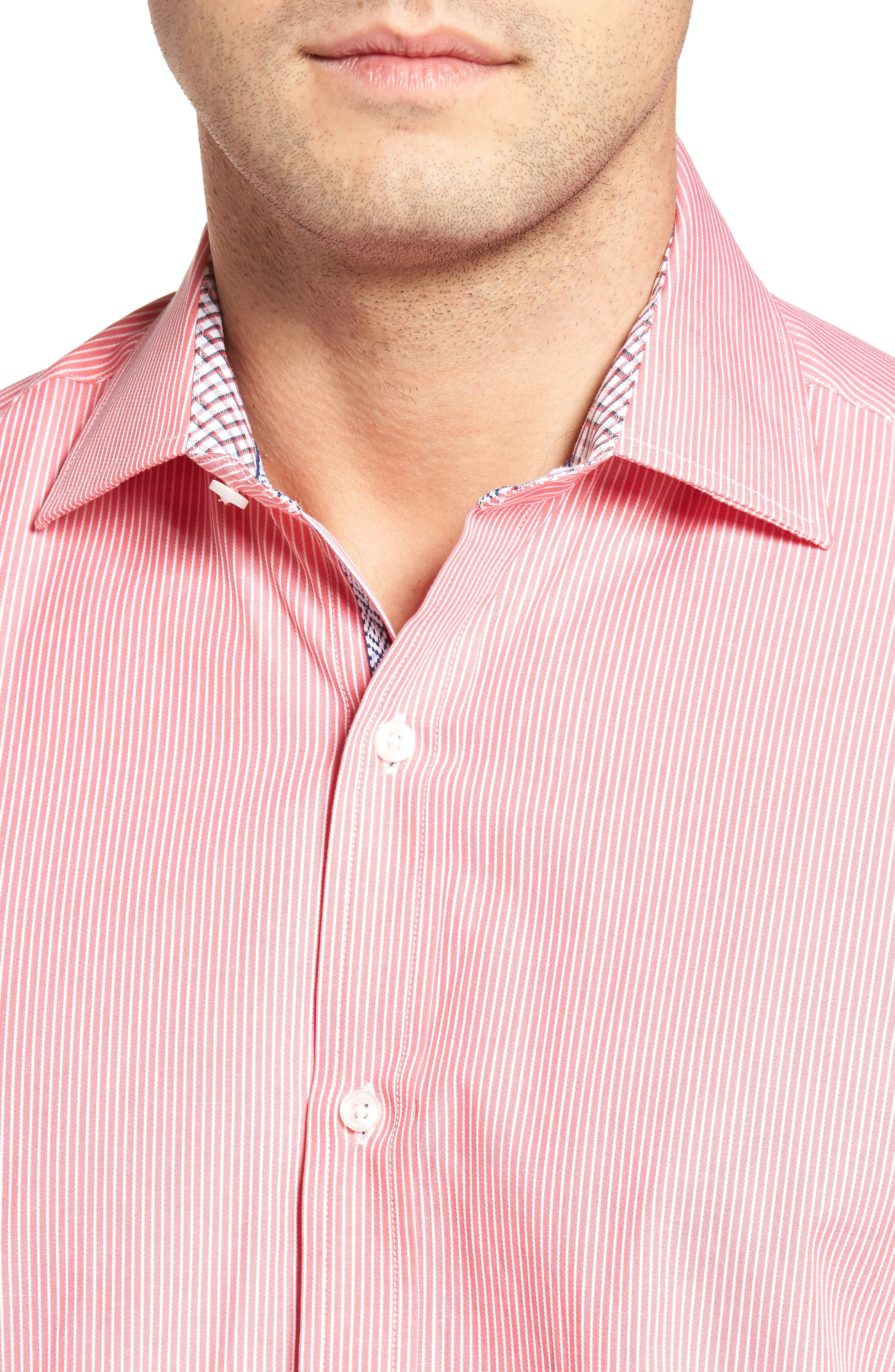 Many Regular Fit Stripe Sport Shirt,                             Alternate thumbnail 4, color,                             Coral