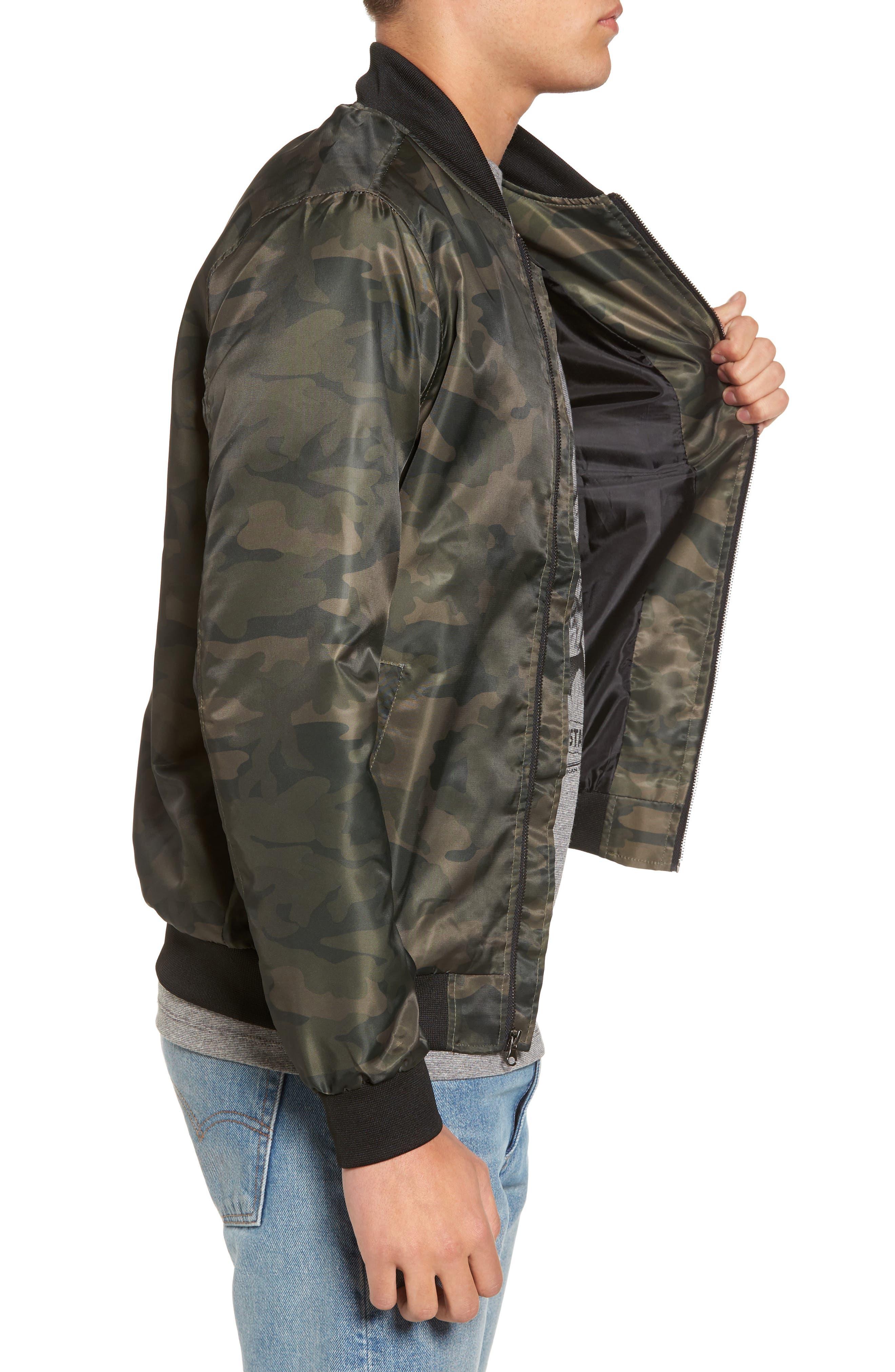 Nylon Bomber Jacket,                             Alternate thumbnail 3, color,                             Olive Dark Camouflage