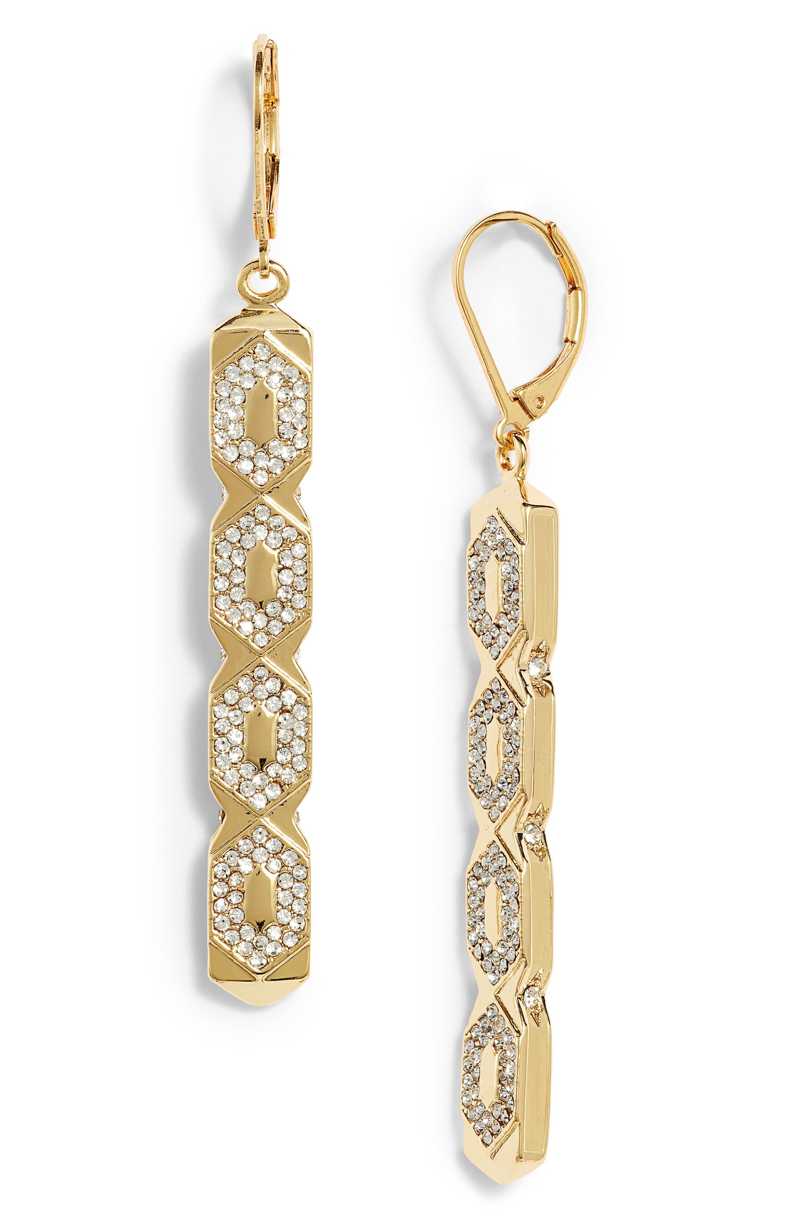 Openwork Linear Drop Earrings,                         Main,                         color, Gold