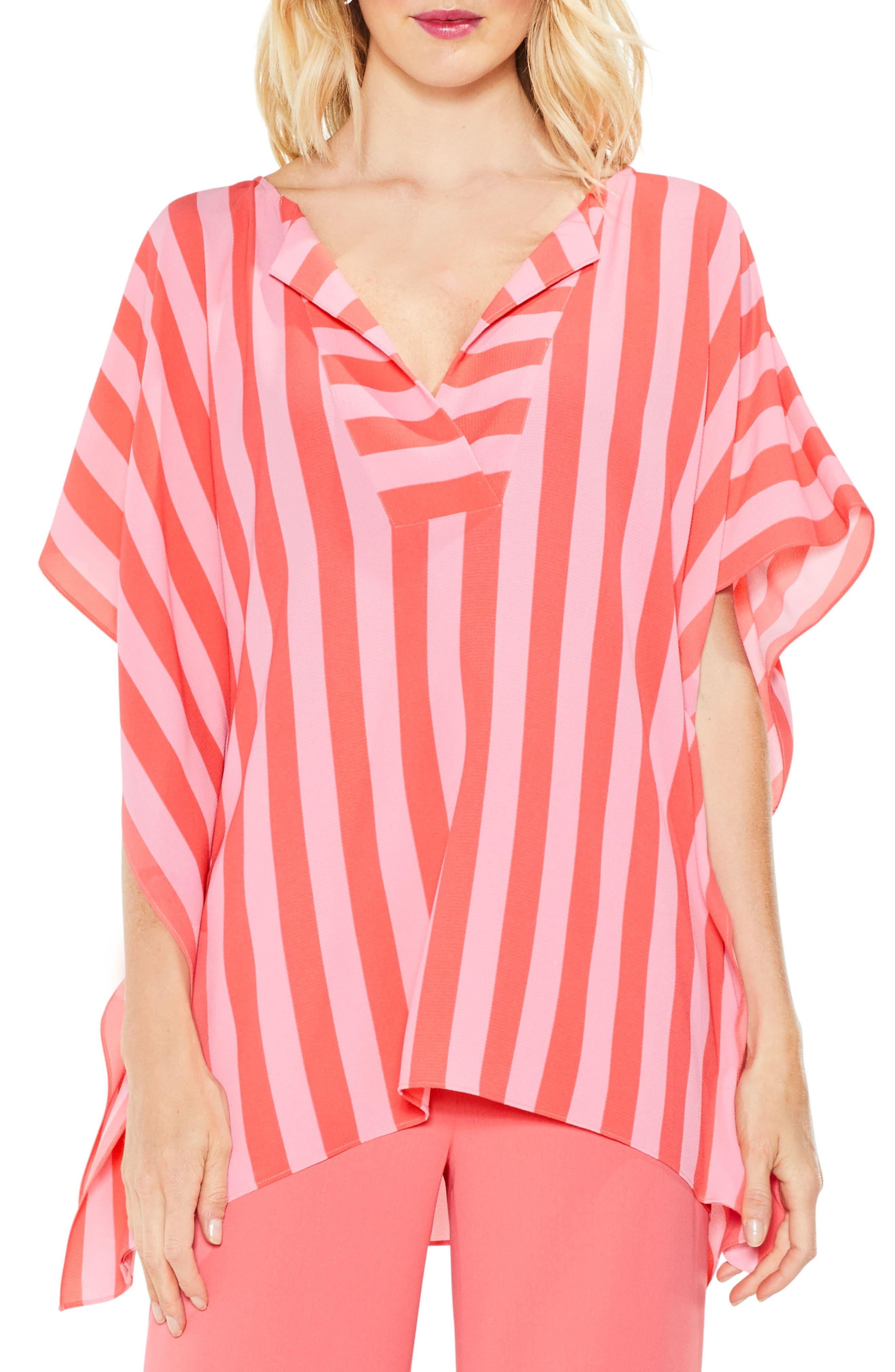 Even Stripe Poncho,                         Main,                         color, Melon