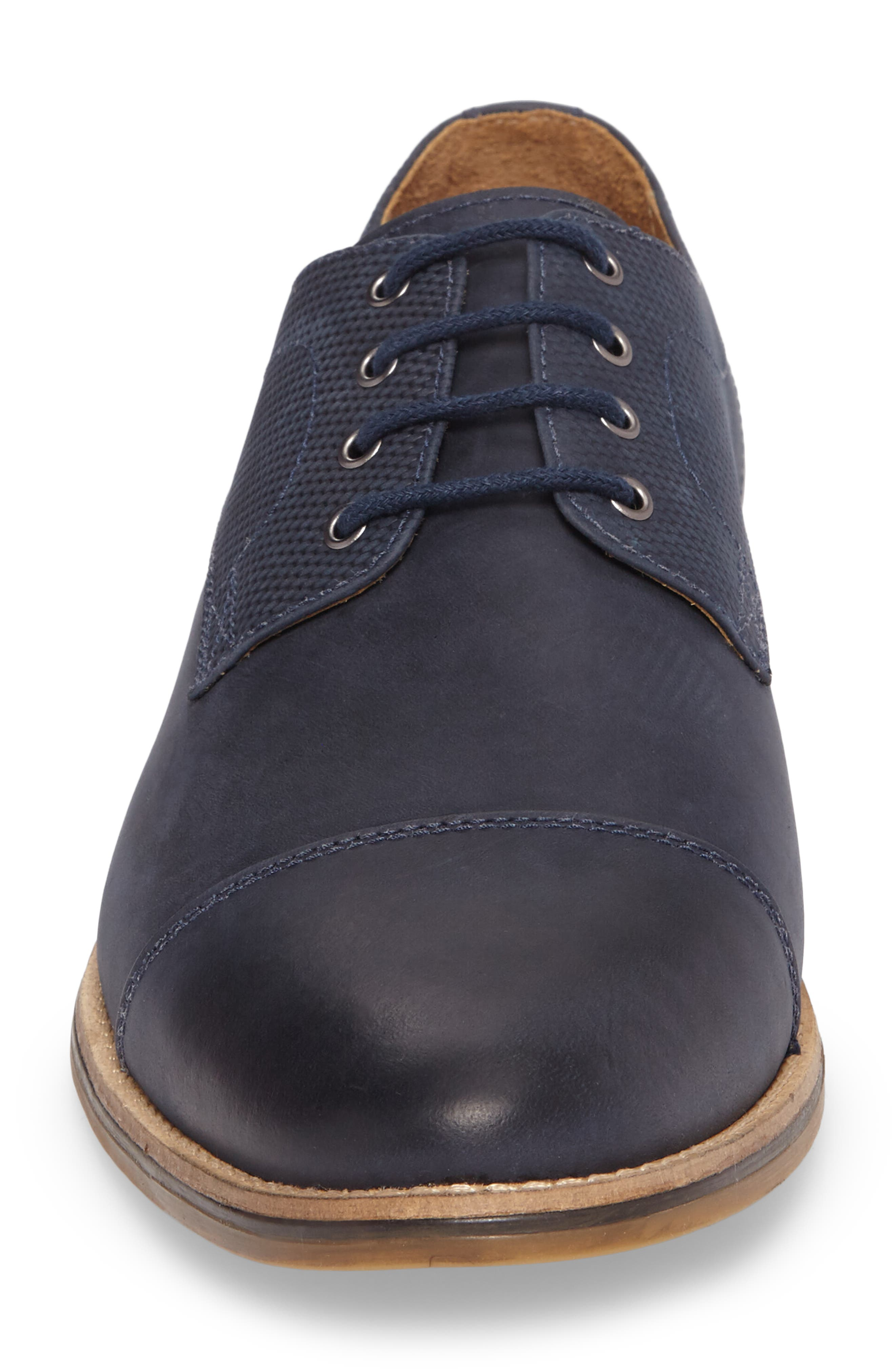 Goleta Cap Toe Derby,                             Alternate thumbnail 4, color,                             Navy Leather