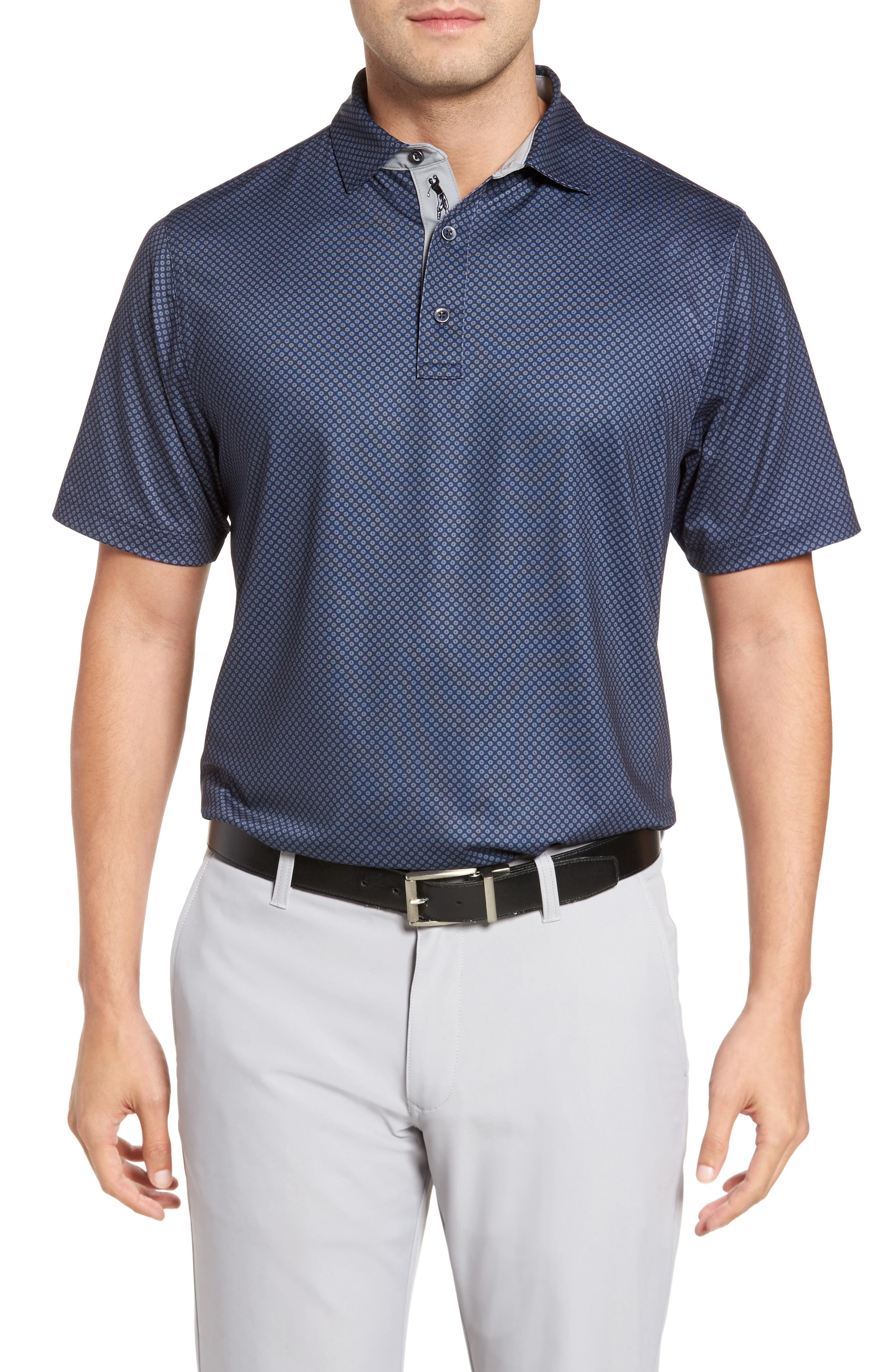 XH20 Floral Print Polo,                             Main thumbnail 1, color,                             Midnight Ink
