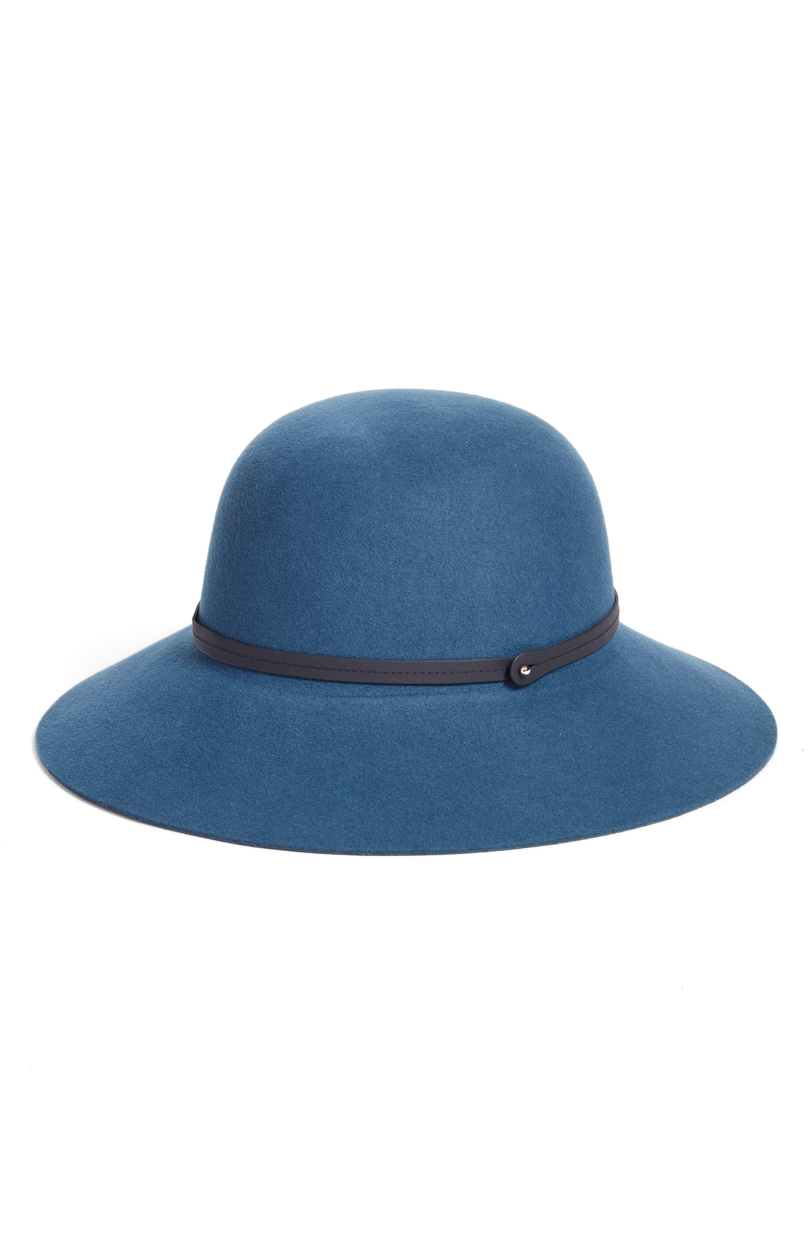 Angled Brim Wool Felt Hat,                             Alternate thumbnail 2, color,                             Smoke Blue/ Navy
