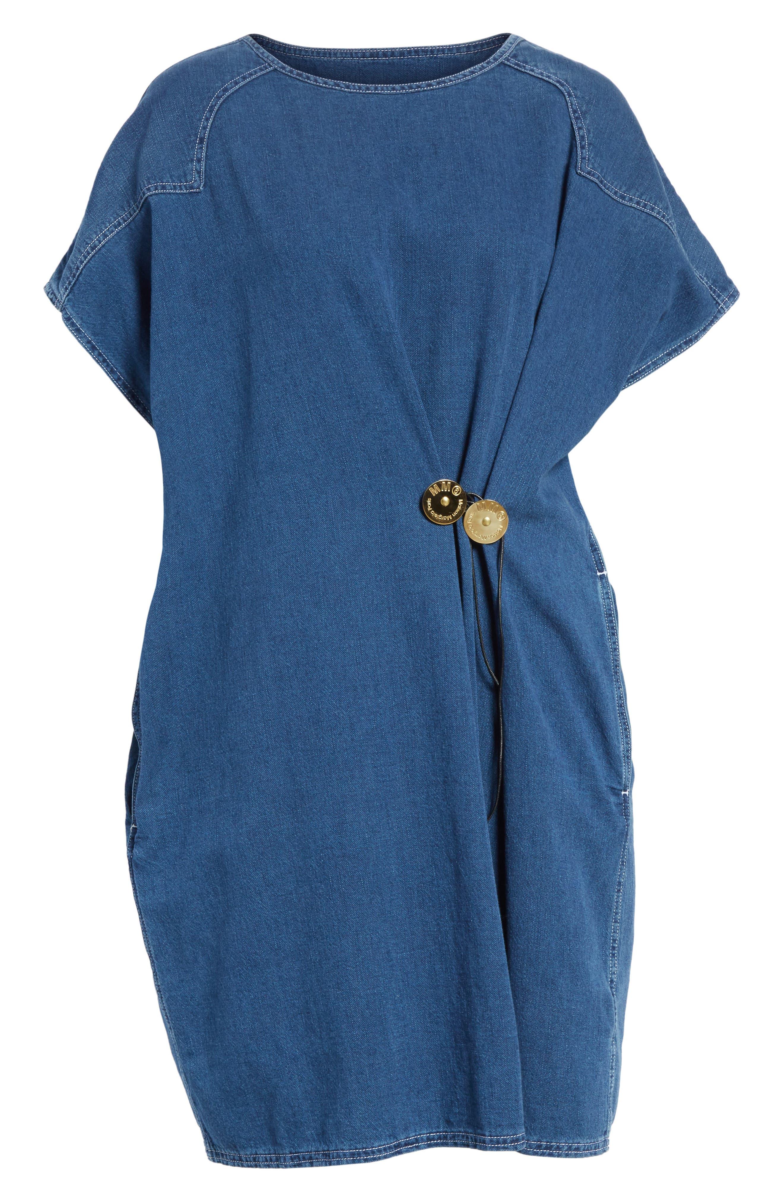'80s Wash Denim Dress,                             Alternate thumbnail 6, color,                             Medium Blue