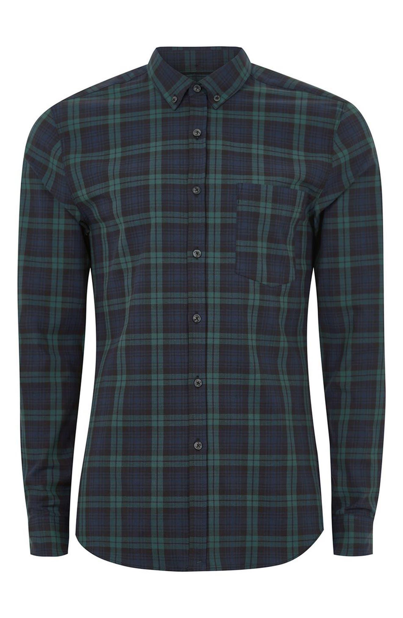 Muscle Fit Black Watch Plaid Shirt,                             Alternate thumbnail 4, color,                             Green Multi