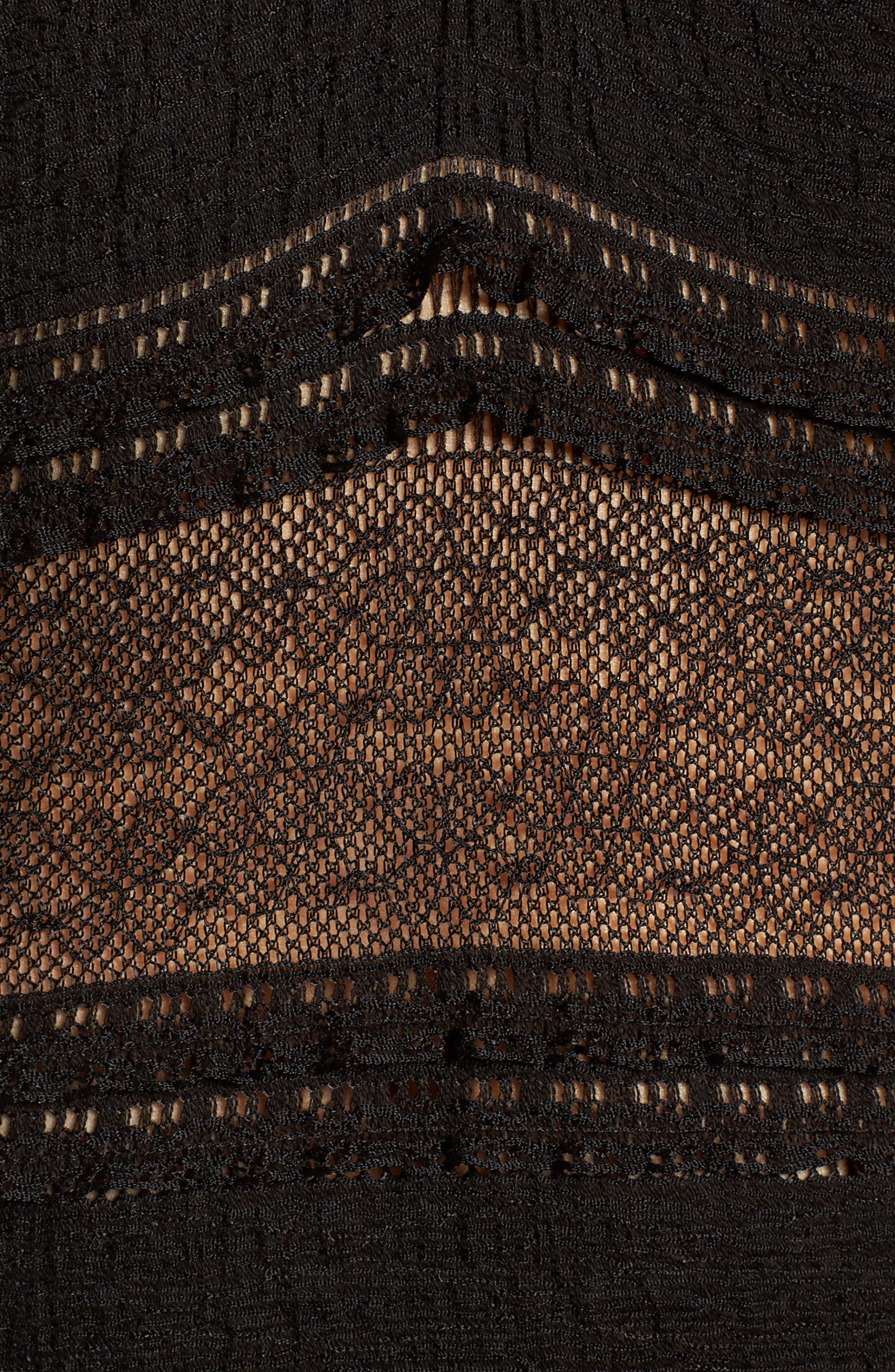Lace Bell Sleeve Thong Bodysuit,                             Alternate thumbnail 5, color,                             Black