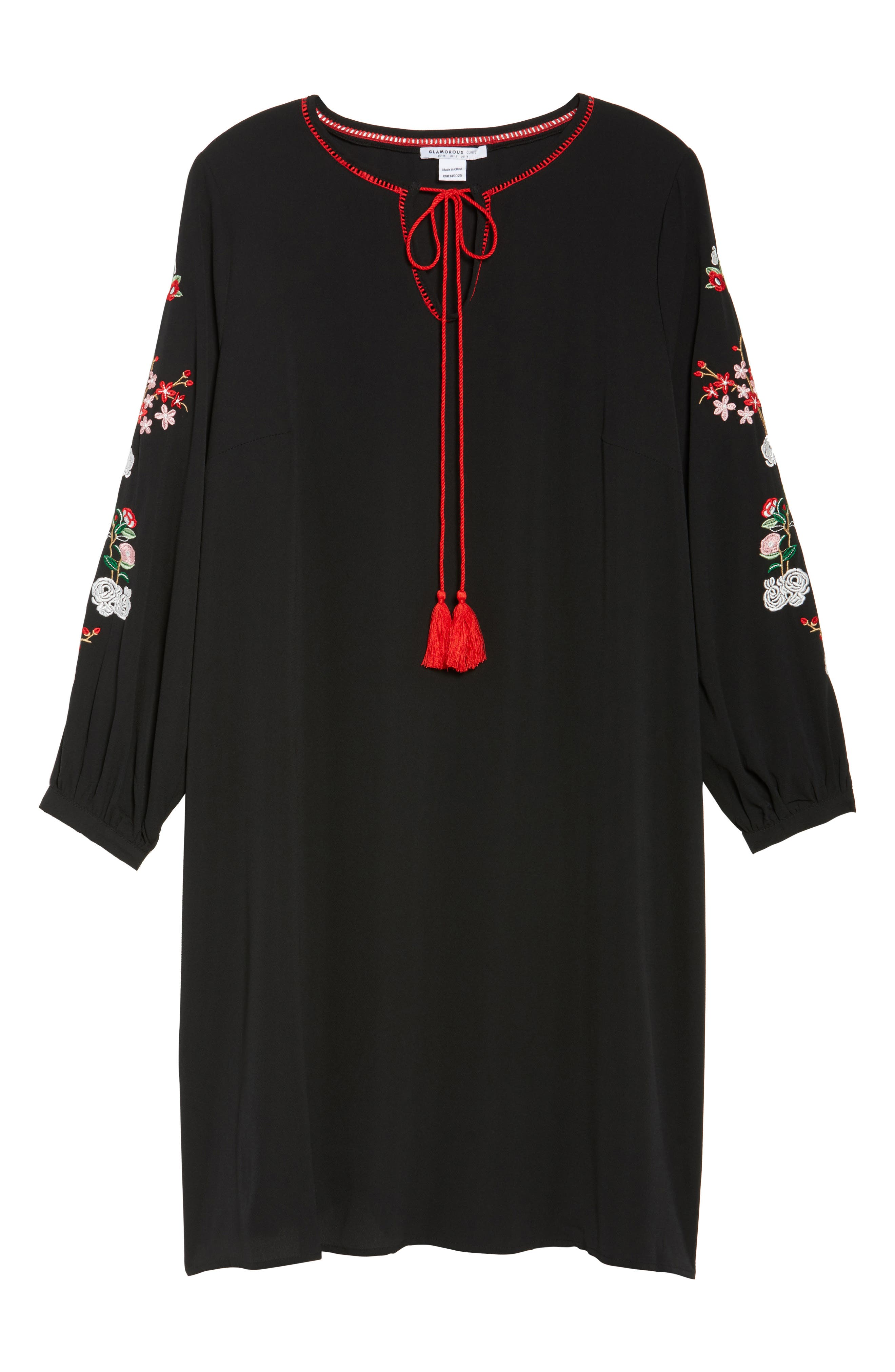 Floral Embroidered Shift Dress,                             Alternate thumbnail 6, color,                             Black