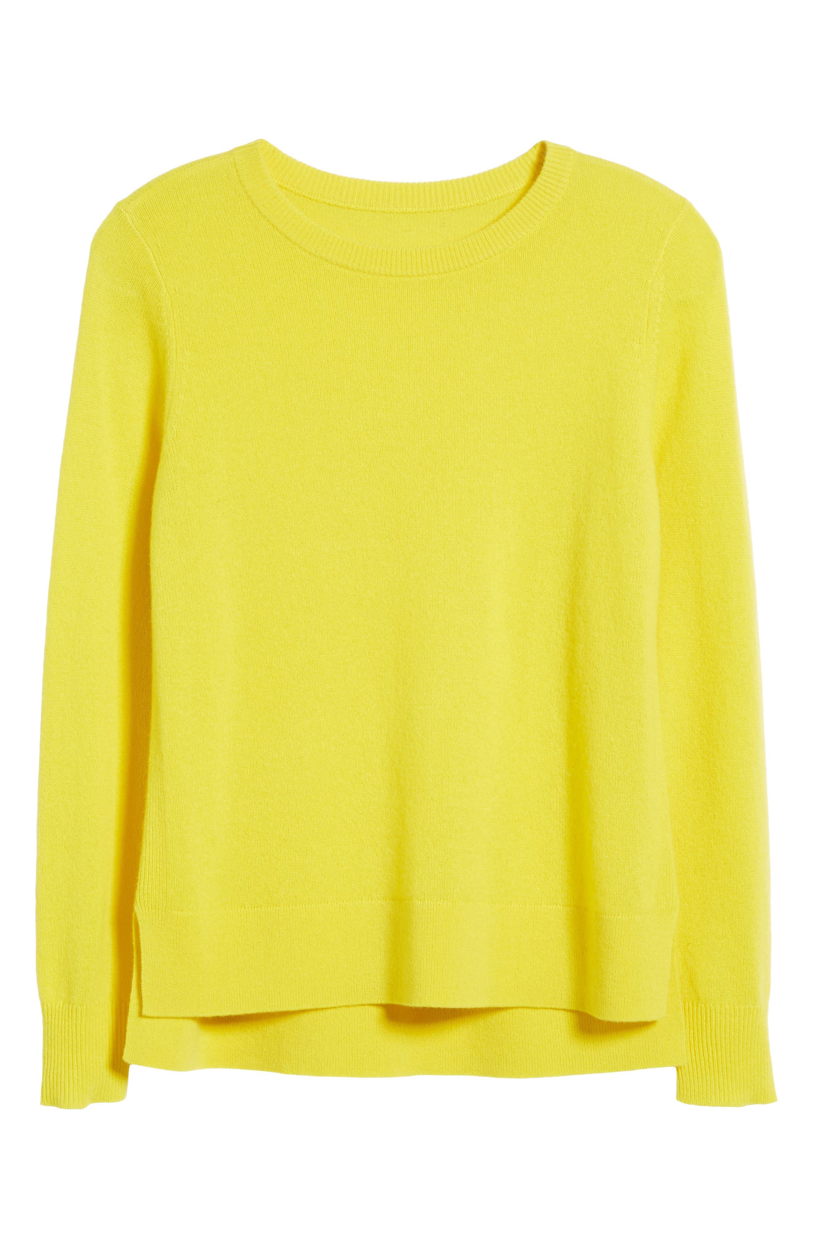 Crewneck Cashmere Sweater,                             Alternate thumbnail 7, color,                             Blazing Buttercup
