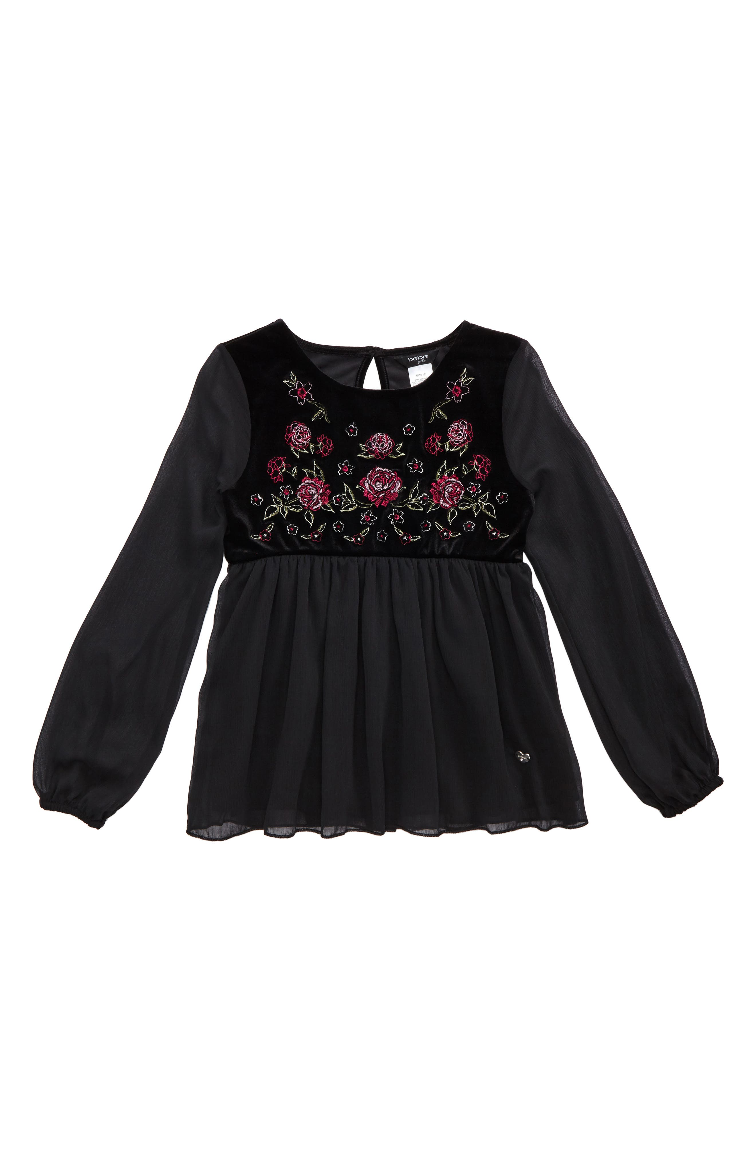 bebe Embroidered Mixed Media Top (Big Girls)