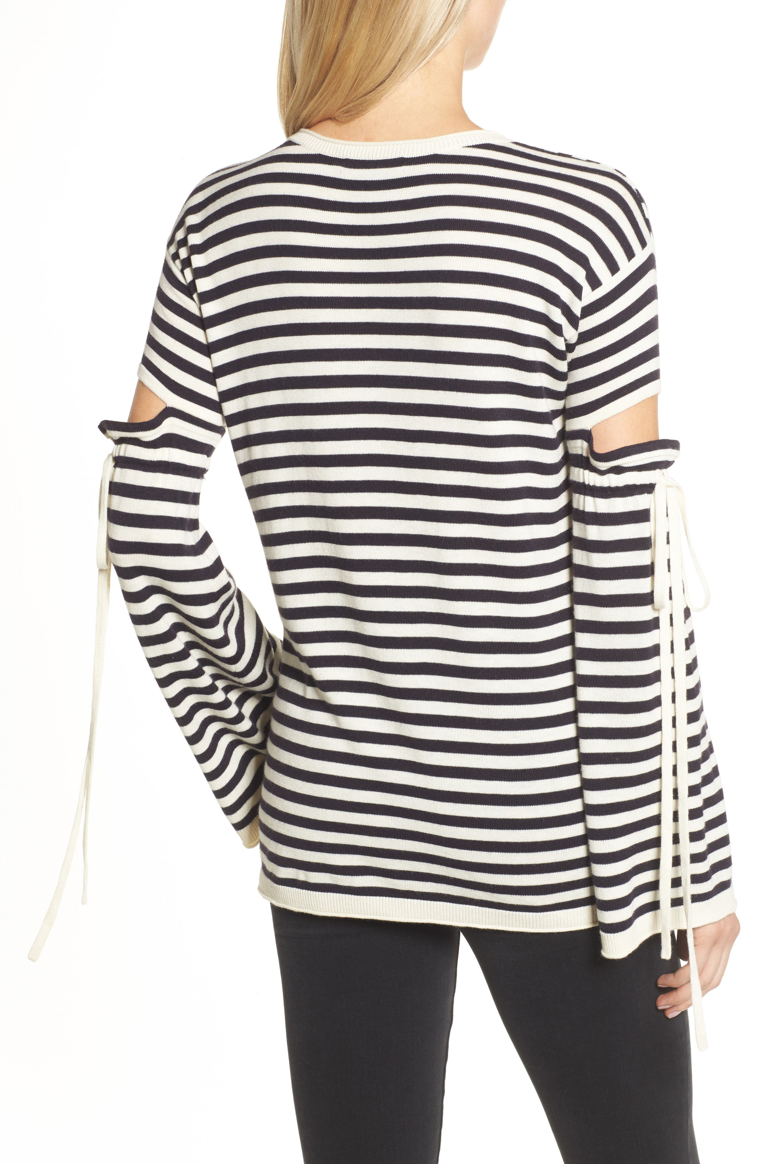 Stripe Cutout Sleeve Sweater,                             Alternate thumbnail 2, color,                             Navy Well- Ivory Stripe